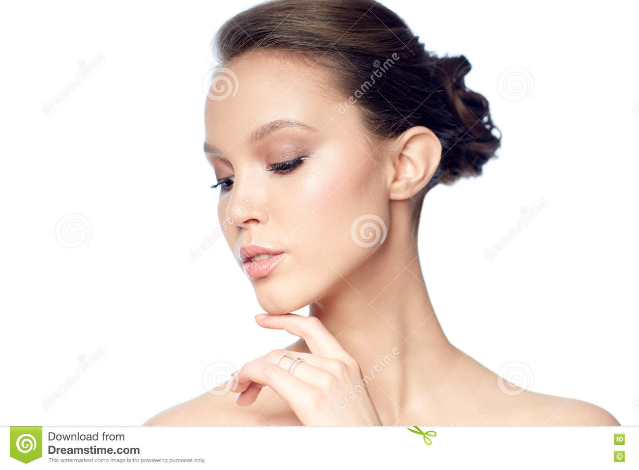 Face Of Beautiful Asian Woman With Golden Ring Stock Photo