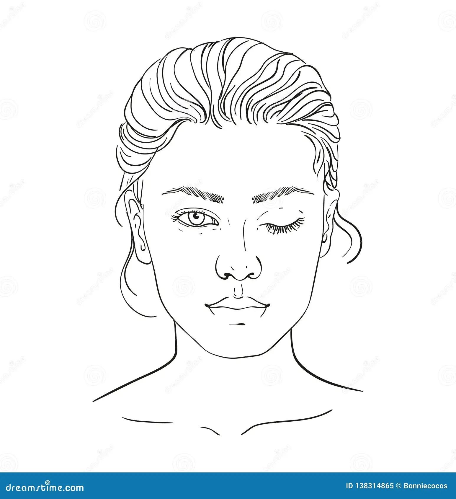 Face Chart Makeup Artist Blank Template Vector