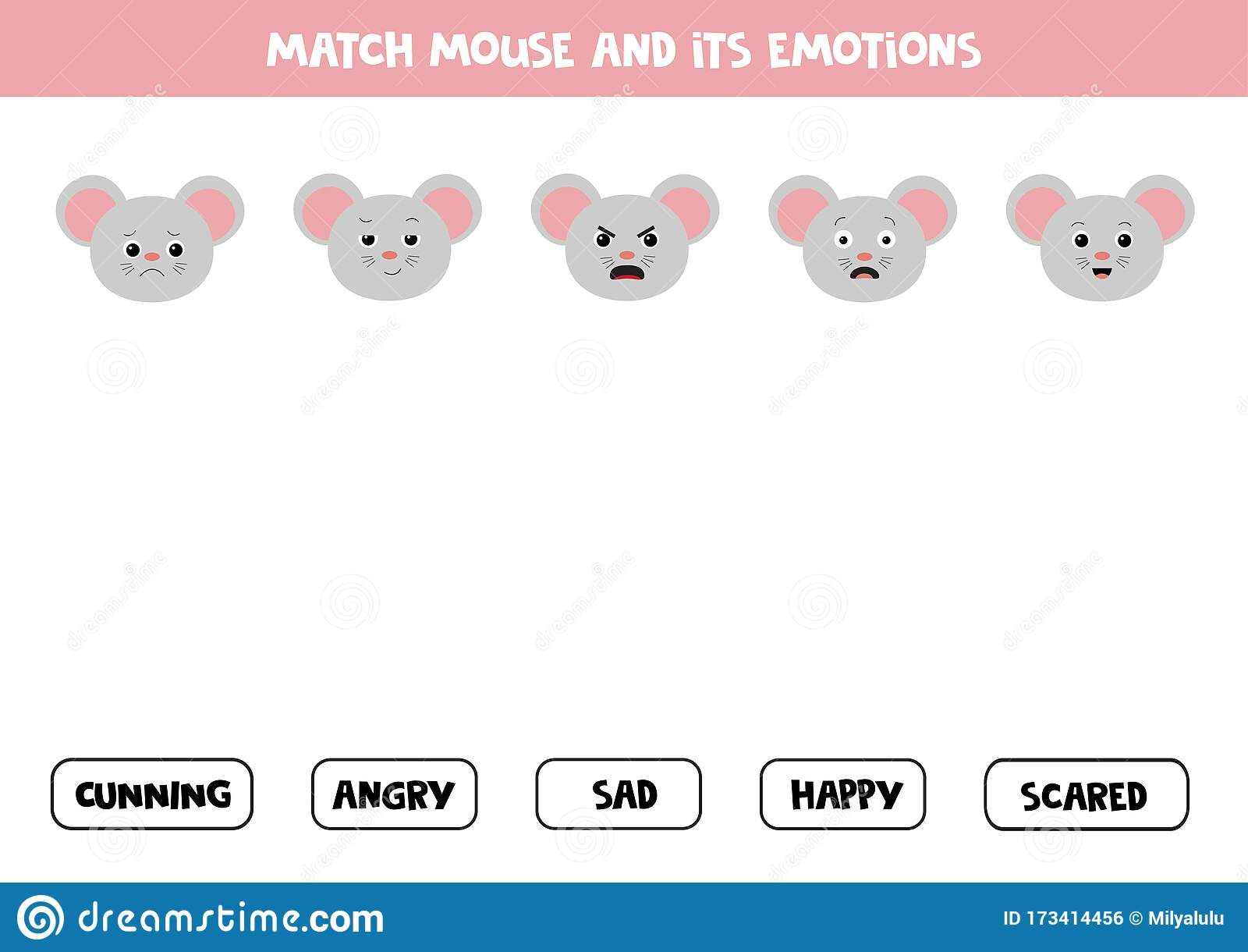 Face Emotions Game For Kids With Gray Mouse Stock Vector