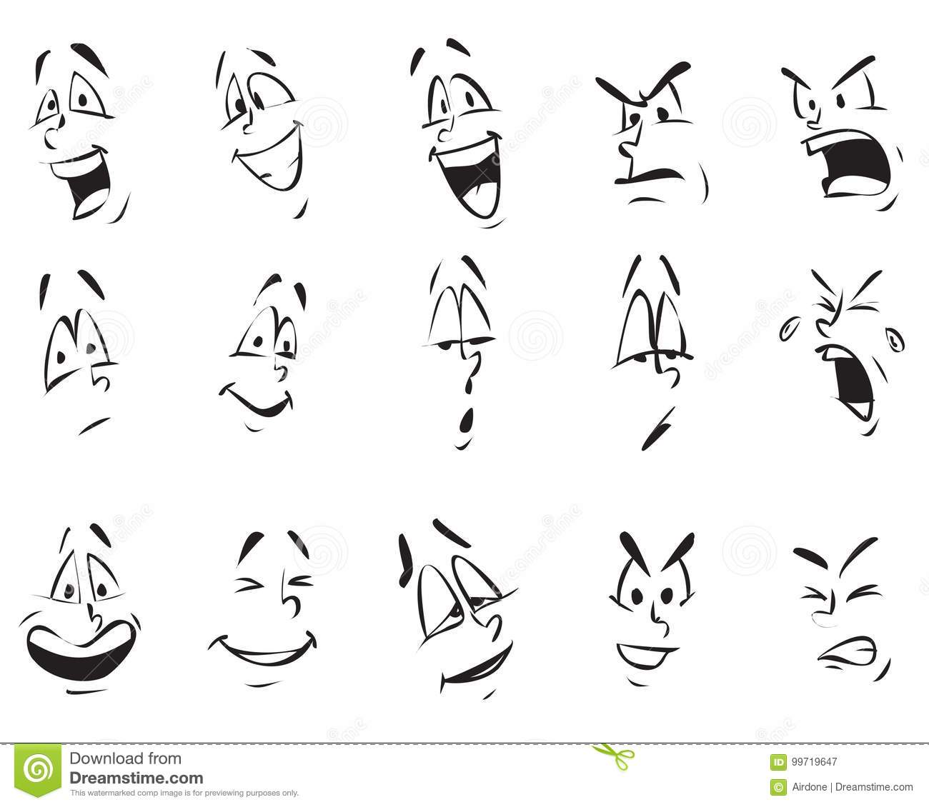 Face Expressions Cartoon Doodle Back And White Outline