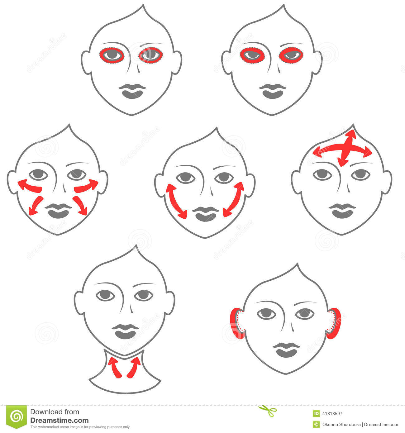 Face And Neck Plastic Surgery Stock Vector