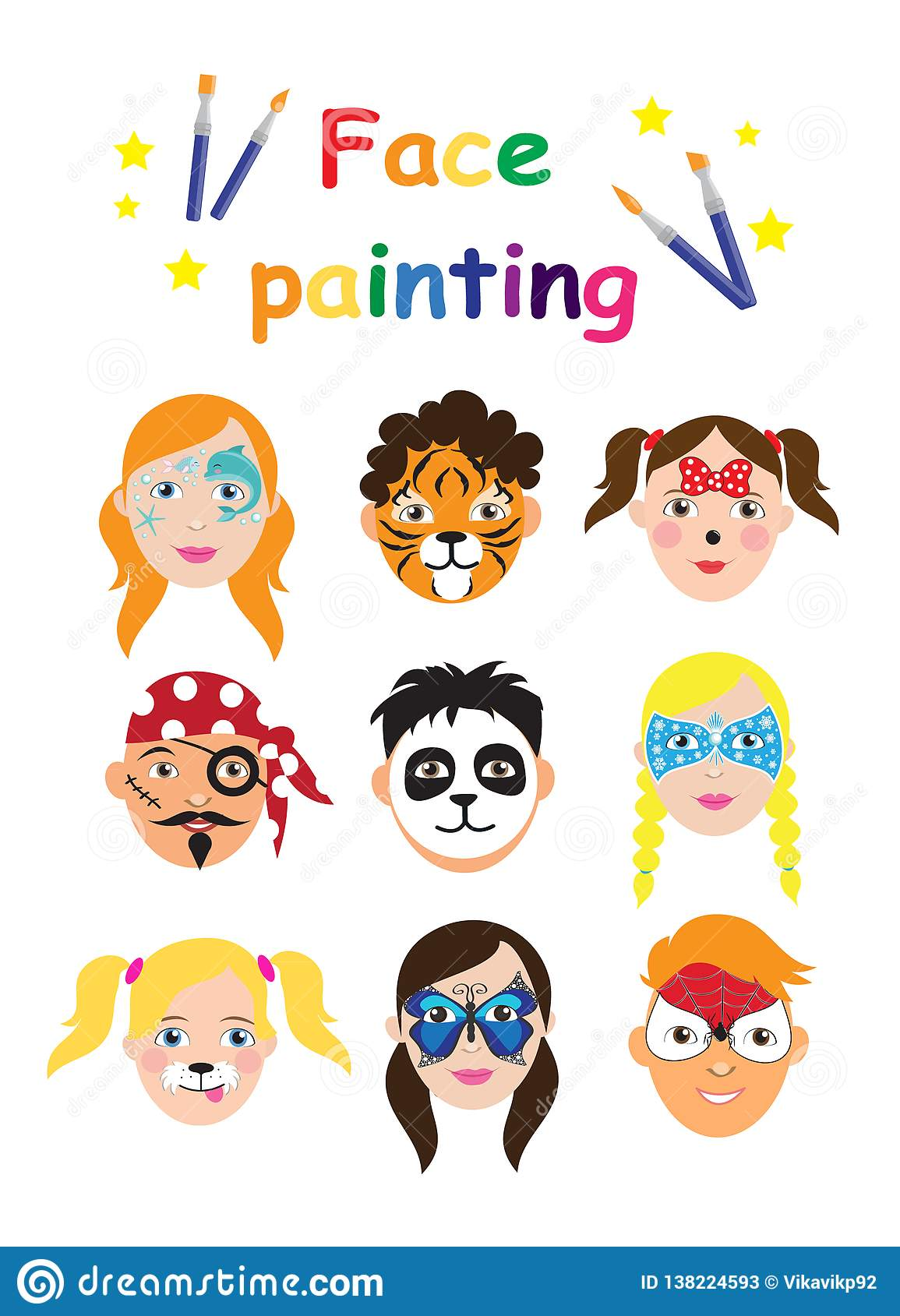 Face Painting For Kids Collection Set Of Icons In Cartoon