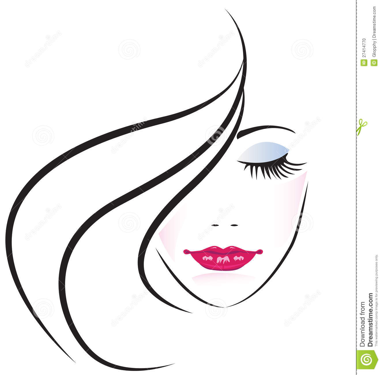 Face Of Pretty Woman Logo Vector Stock Photo