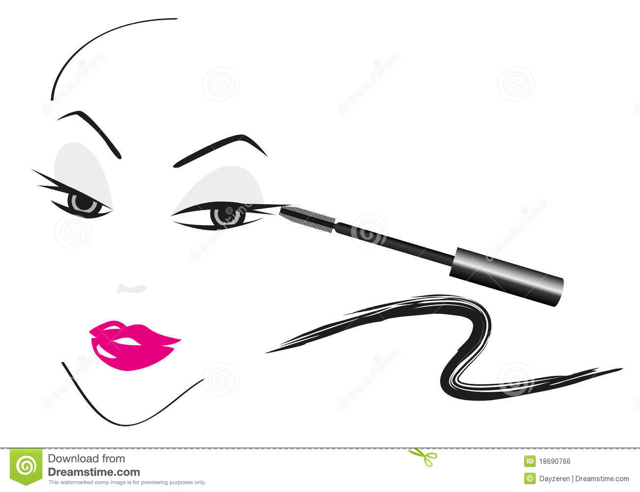 Face Sketch With Make Up Stock Vector Illustration Of