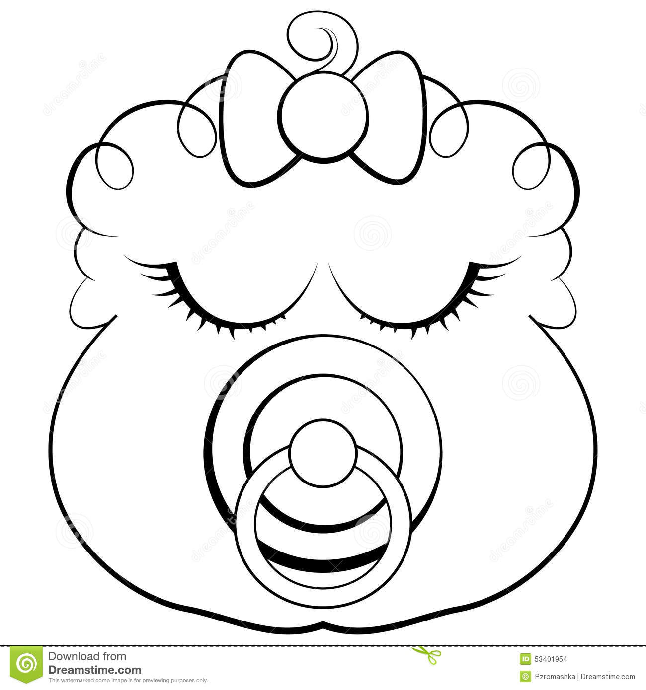 Face Of A Sleeping Baby Girl With Pacifier Stock Vector