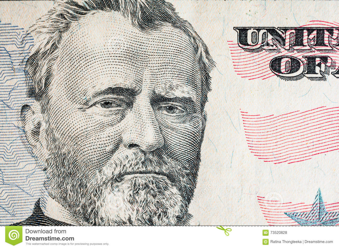 Face On Us Fifty Or 50 Dollars Bill Macro United States