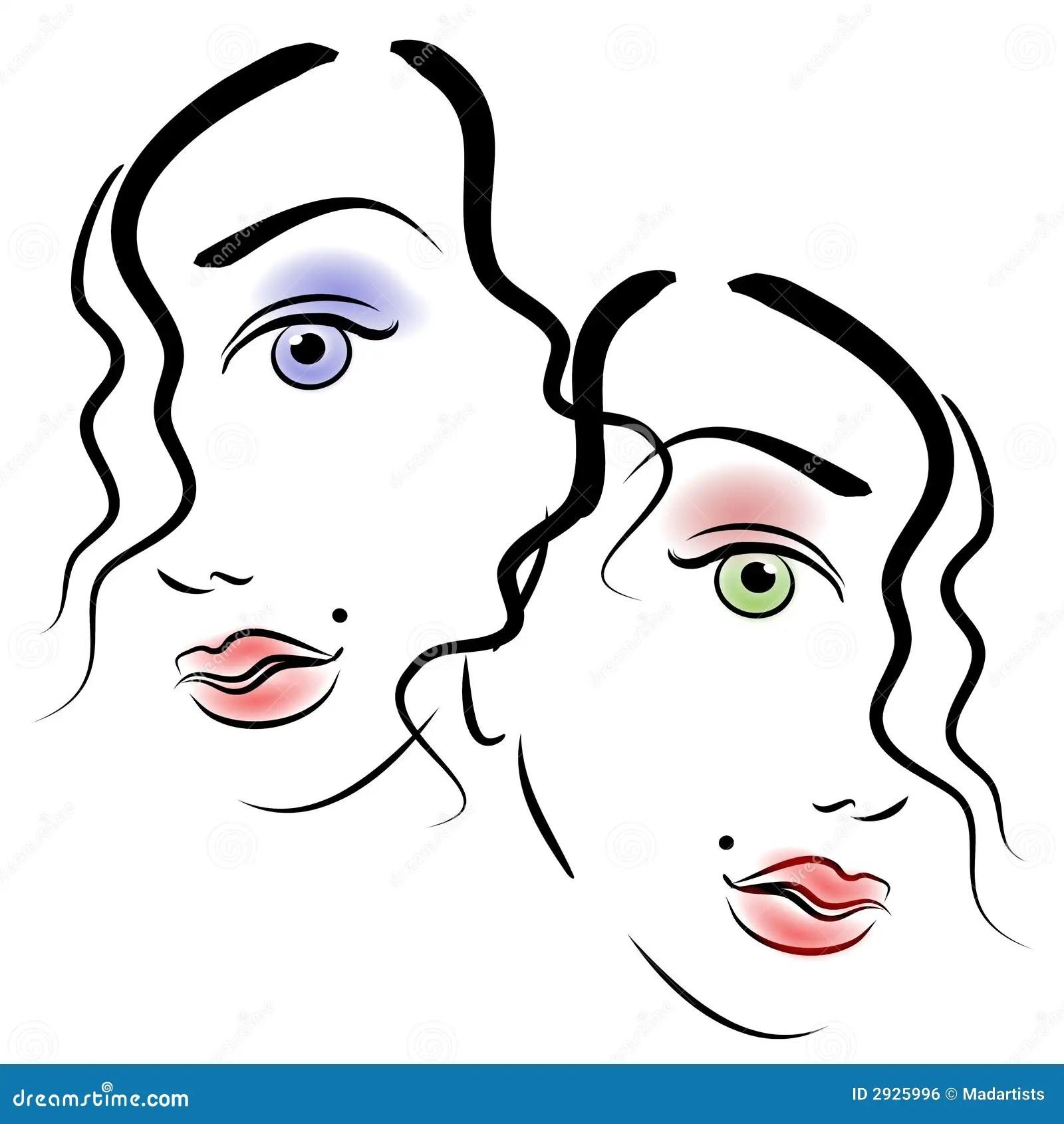 Faces Of Women Clip Art 3 Stock Illustration Illustration