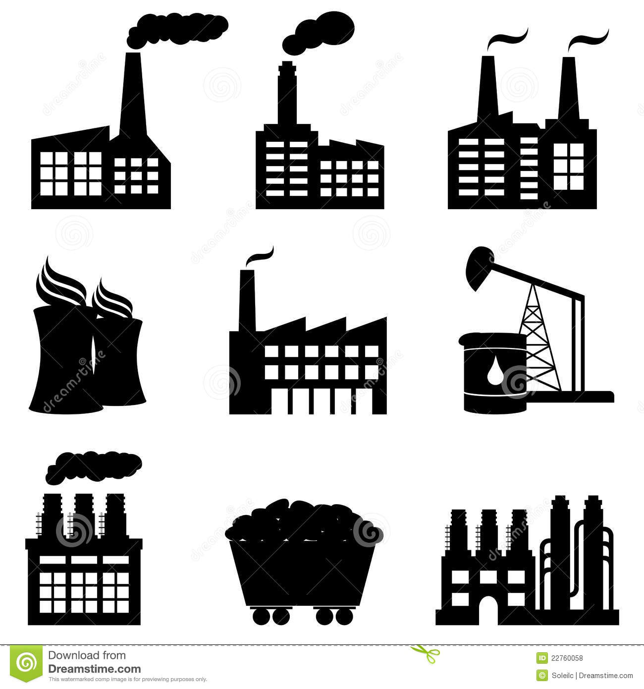 Factory Nuclear Power Plant And Energy Icons Stock Vector
