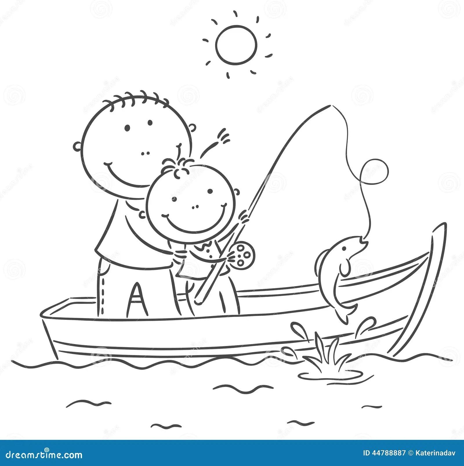 Fader Och Son I Fartyget Som Fiskar Vektor Illustrationer