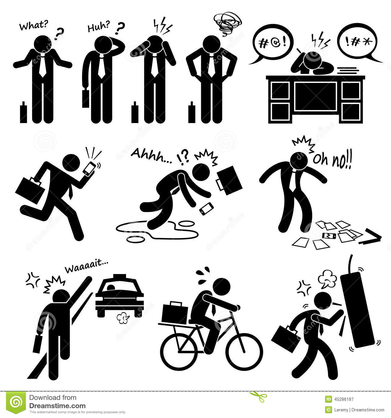 Fail Businessman Emotion Feeling Action Cliparts Icons