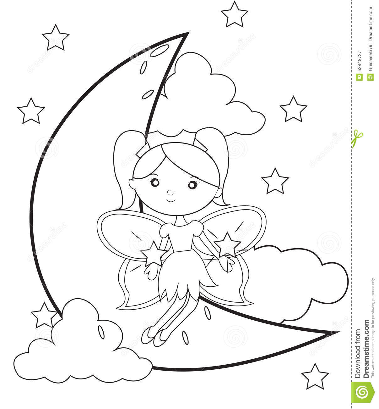 Fairy On The Moon Coloring Page Stock Illustration