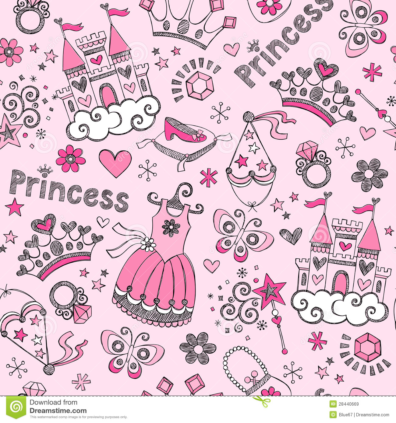 Fairy Tale Princess Seamless Pattern Sketchy Doodl Stock