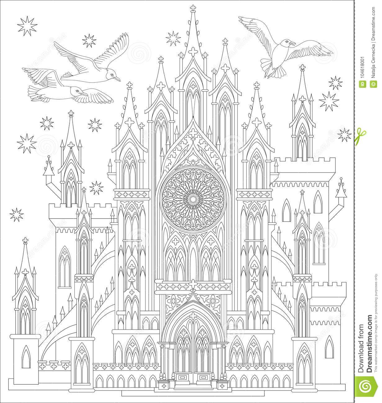 Fairyland Me Val Gothic Castle Black And White Page For