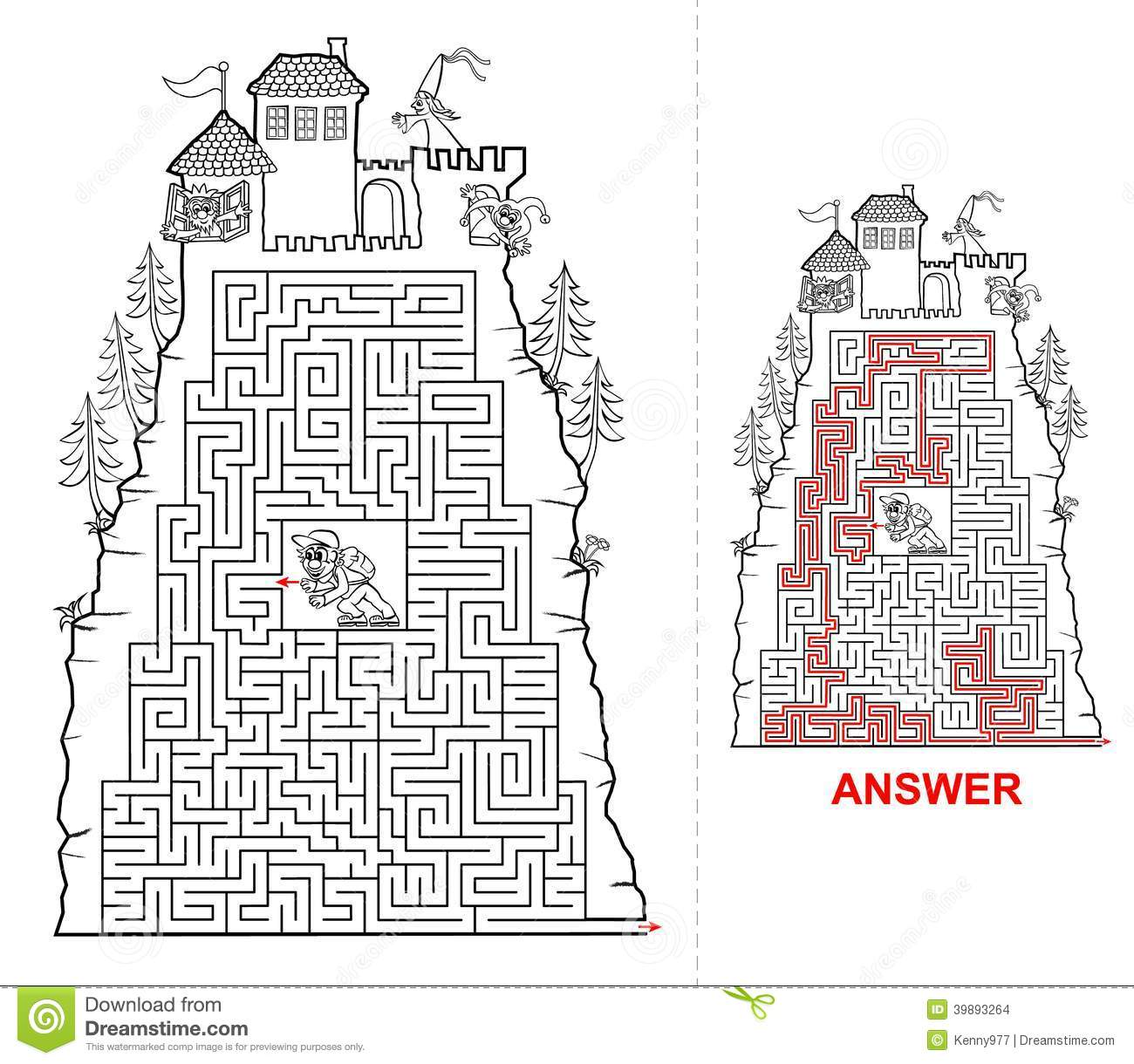 Fairytail Castle Maze For Kids In Black And White Stock