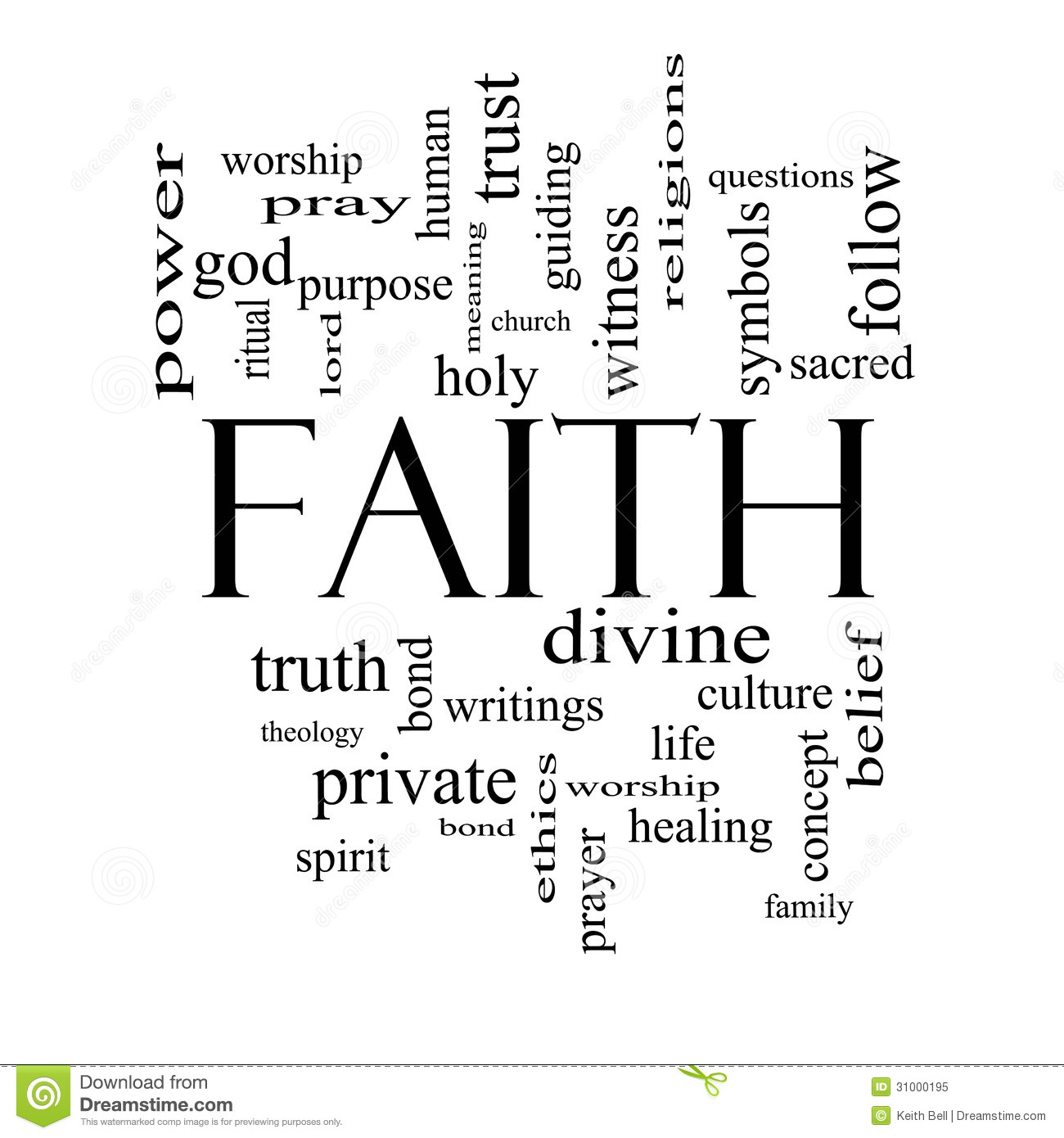 Faith Word Cloud Concept In Black And White Royalty Free