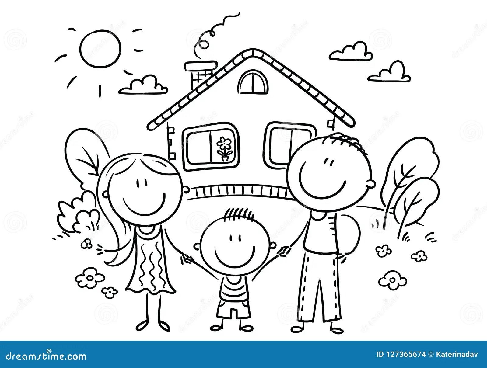 Famiglia Felice Con Un Bambino Vicino Alla Loro Casa In