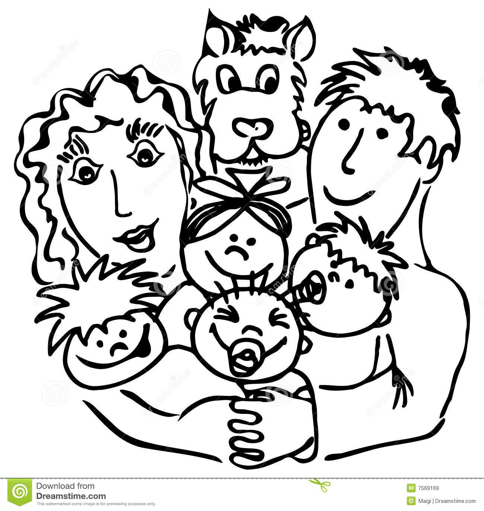 Familie Mit Vierergruppen Stock Abbildung Illustration