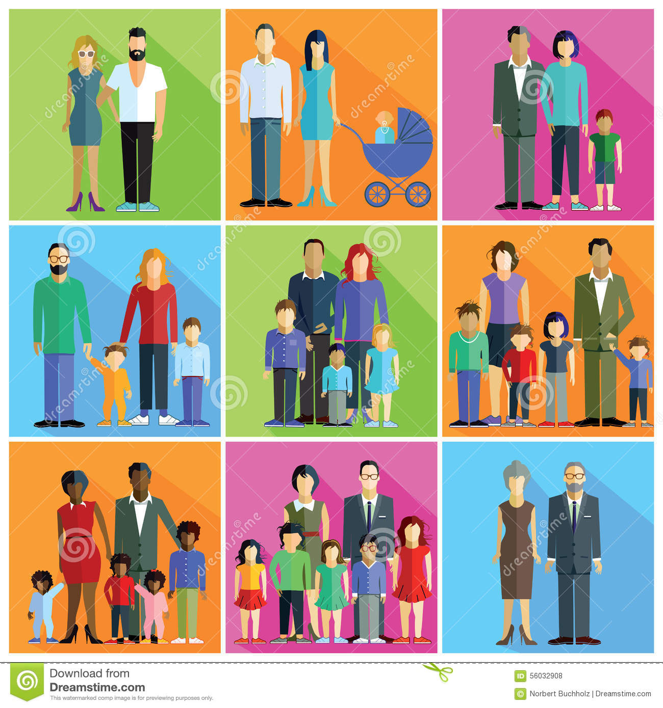 Families Parents And Couples Stock Vector
