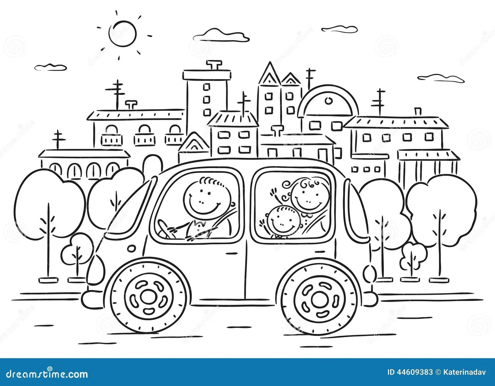 Famille Heureuse Voyageant Par Noir Et Blanc Automobile