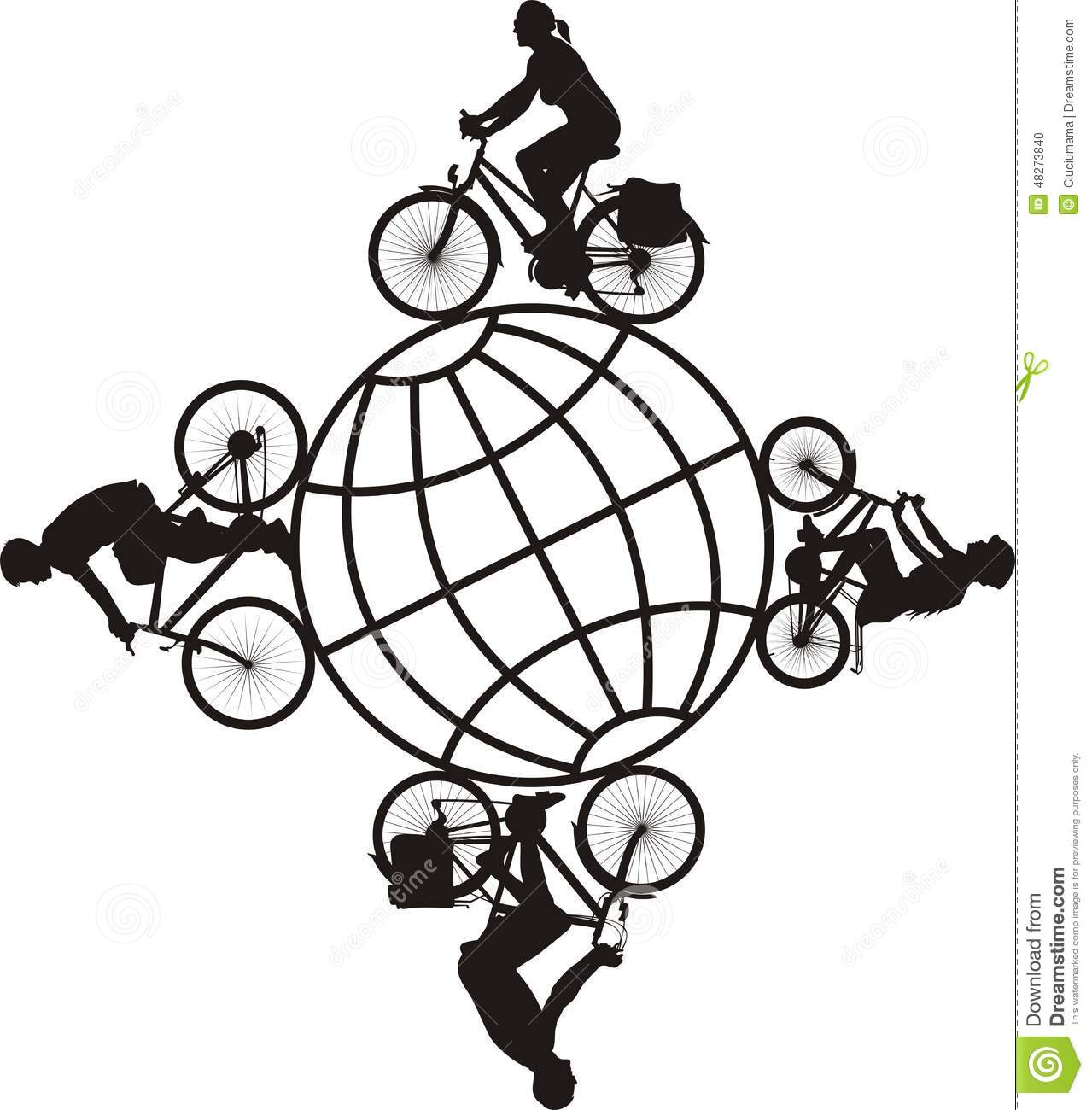 Family On A Bike Around The World Stock Vector