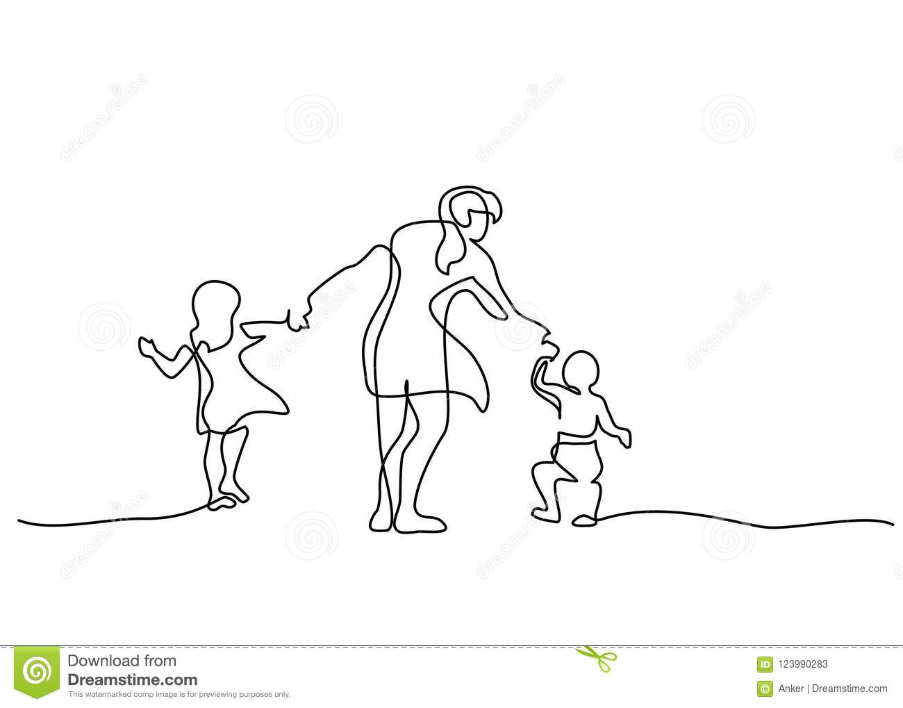 Family Concept Mother Walking With Small Children Stock