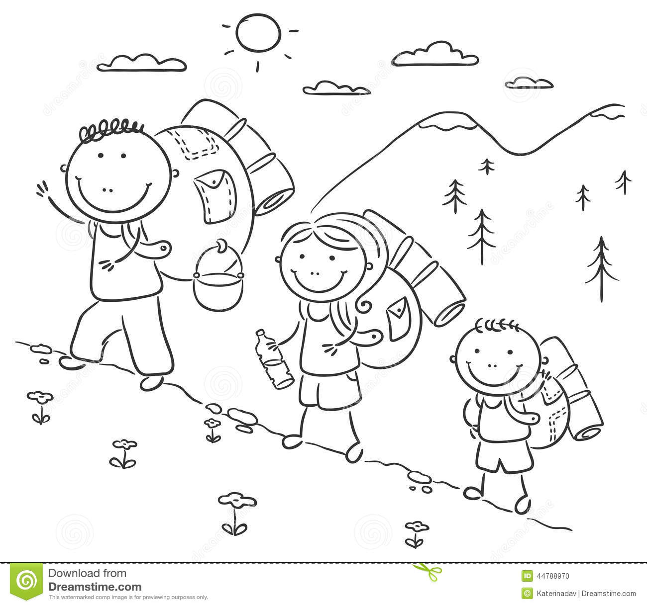 Family Hiking In The Mountains Stock Vector