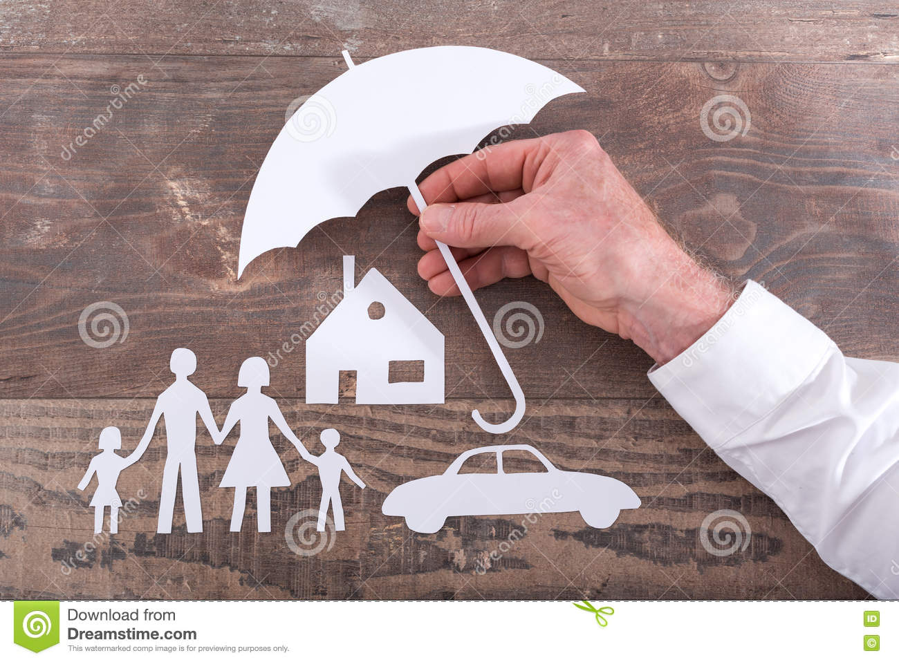 Family House And Car Insurance Concept Stock Photo