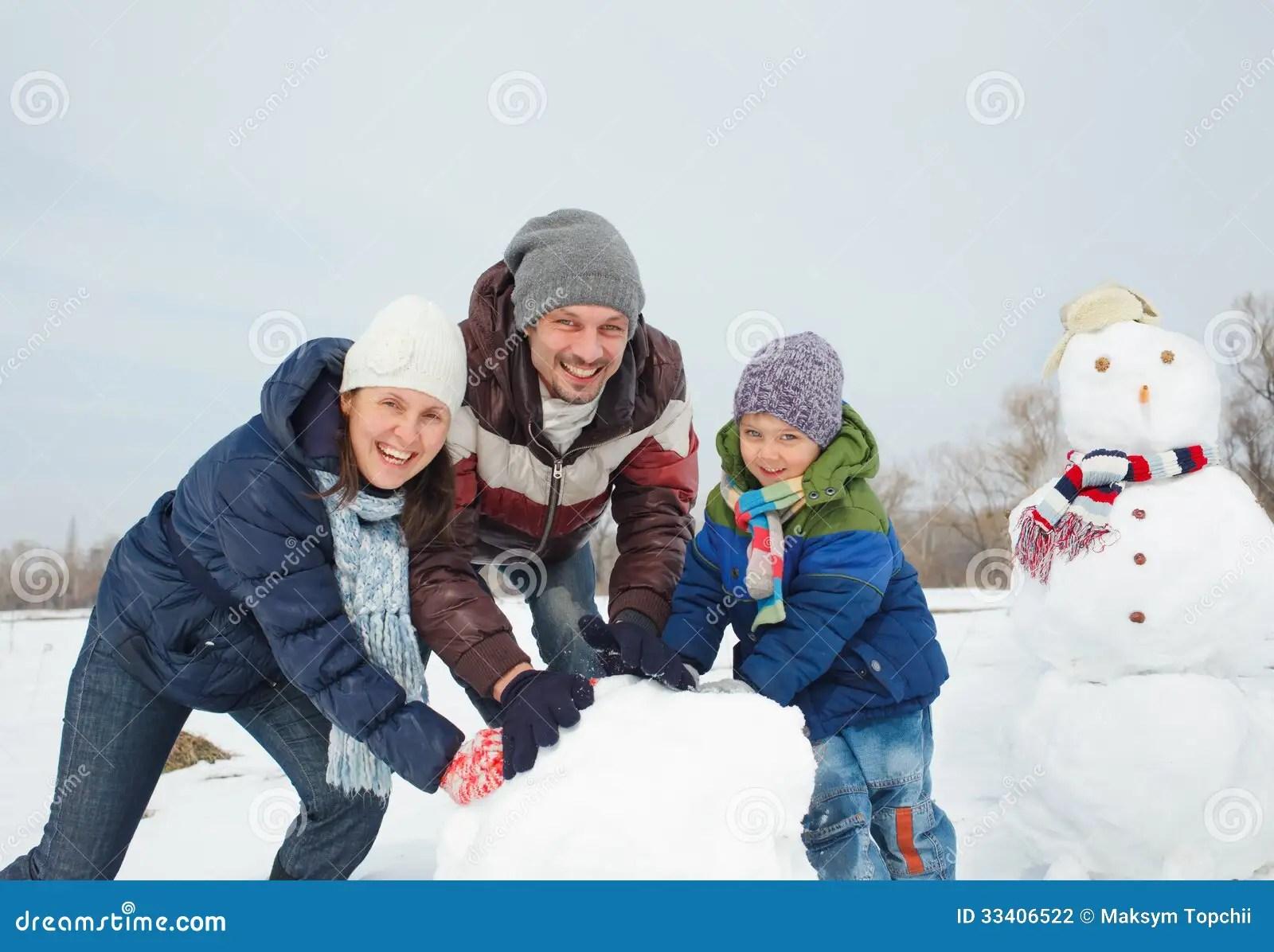 Family Make A Snowman Stock Photo Image Of Beauty