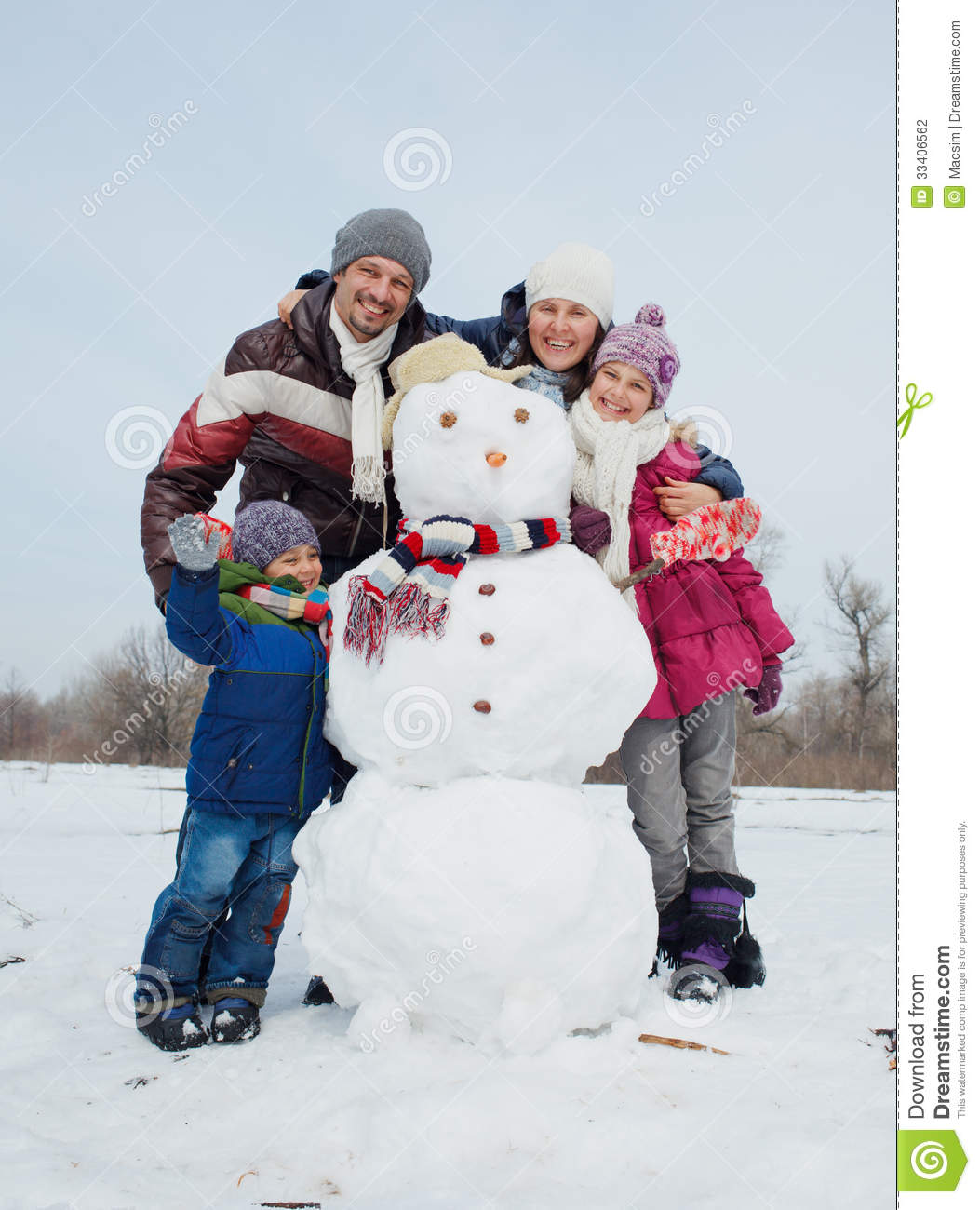 Family Make A Snowman Stock Photo Image Of Cute
