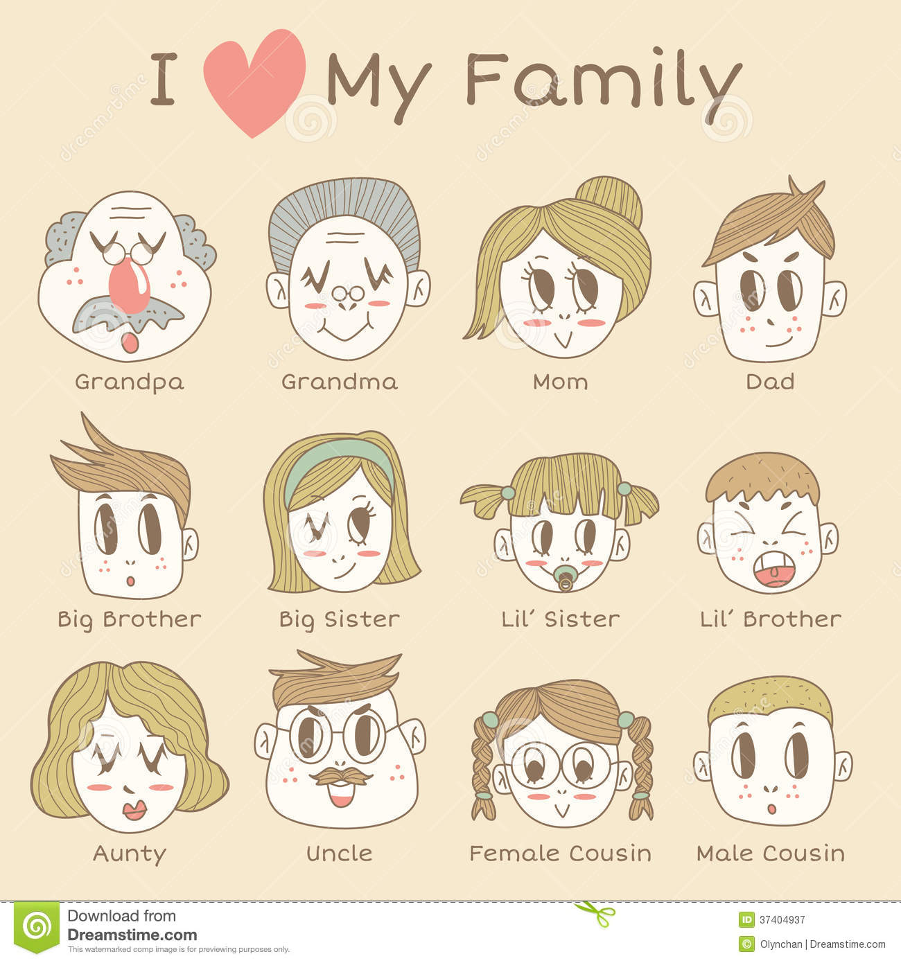 Family Members Icon Set Royalty Free Stock Photography