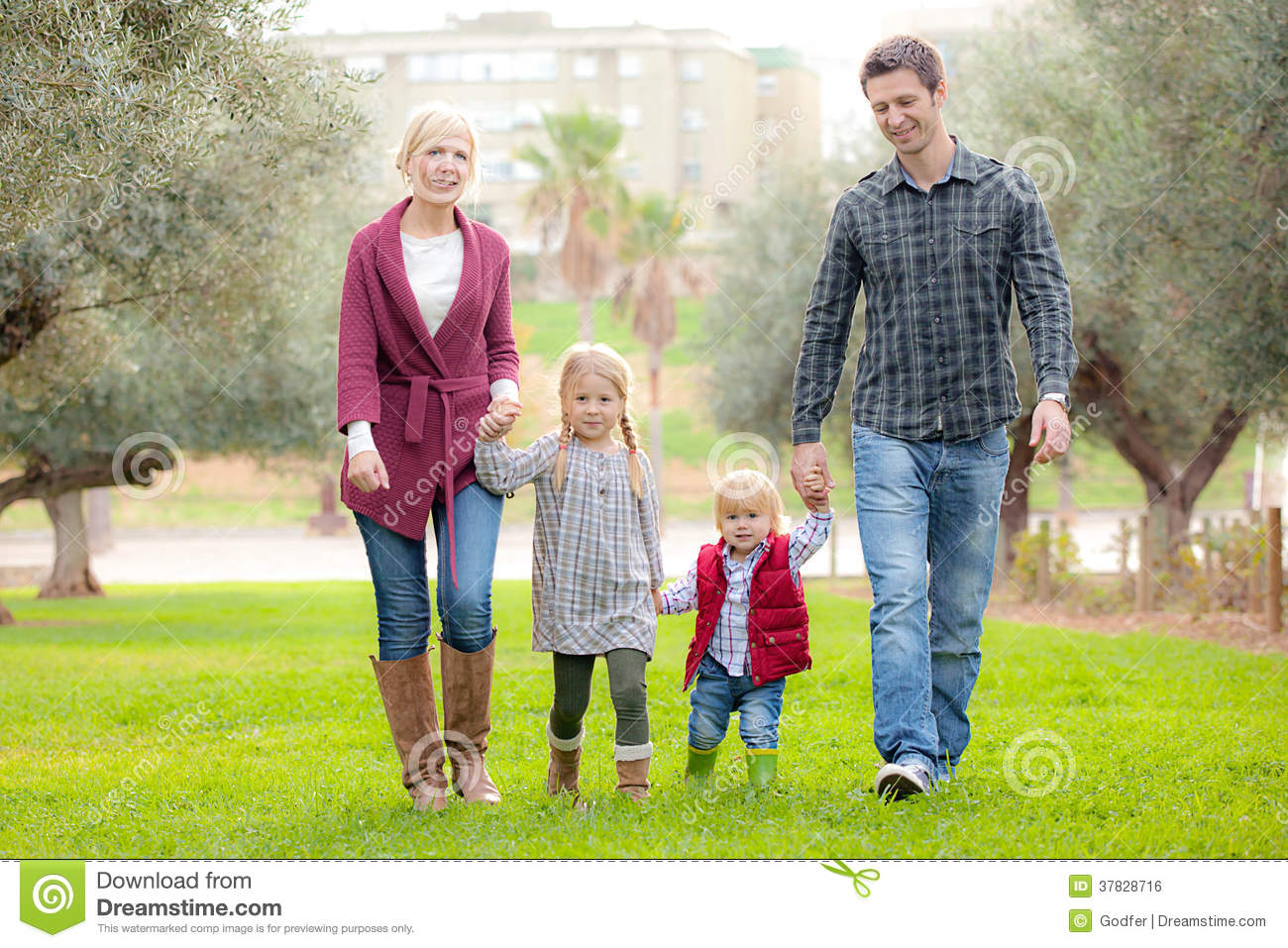 Family Mum Dad And Kids Stock Photo Image Of Happy Hands