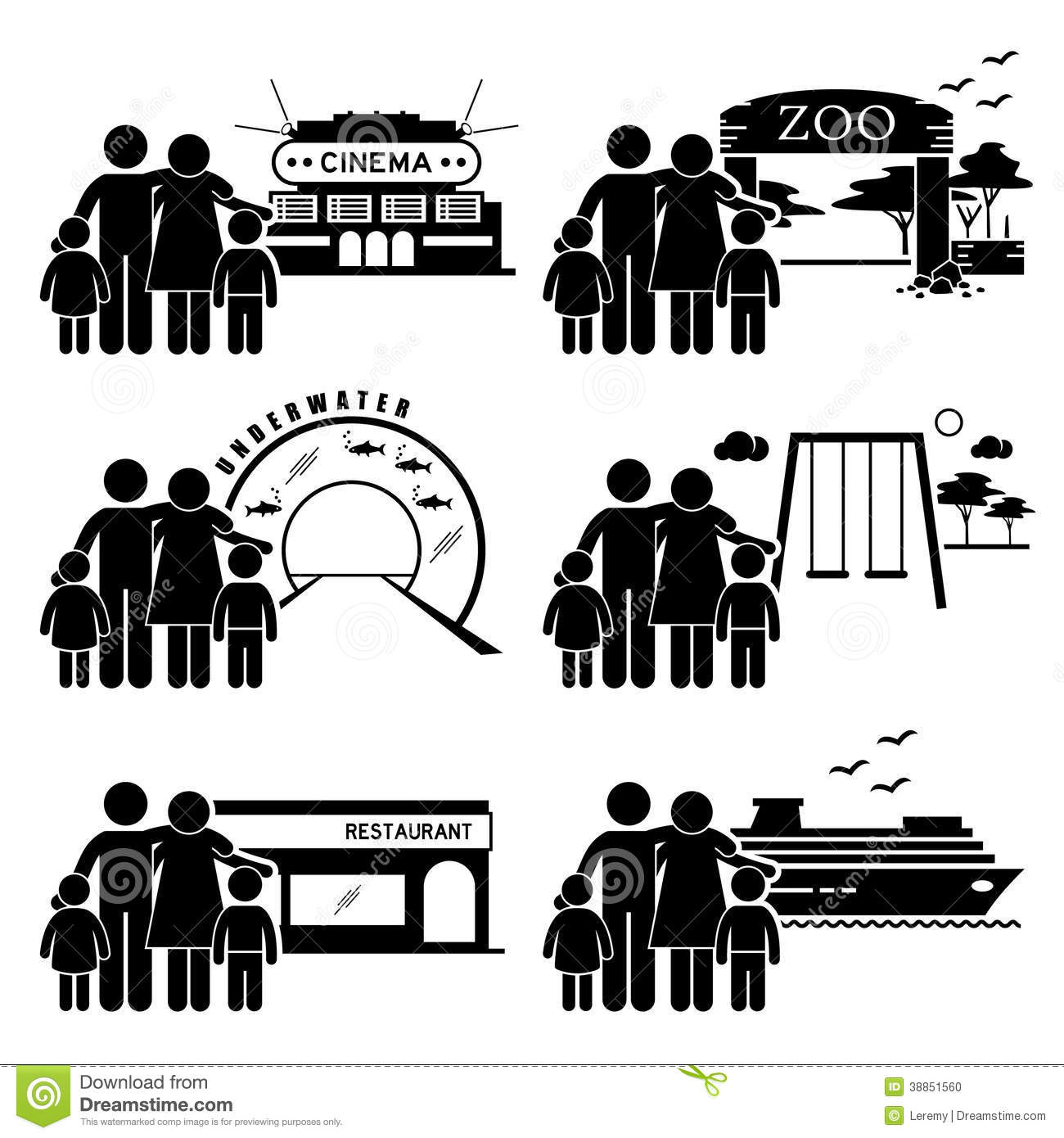 Family Outing Activities Clipart Stock Vector