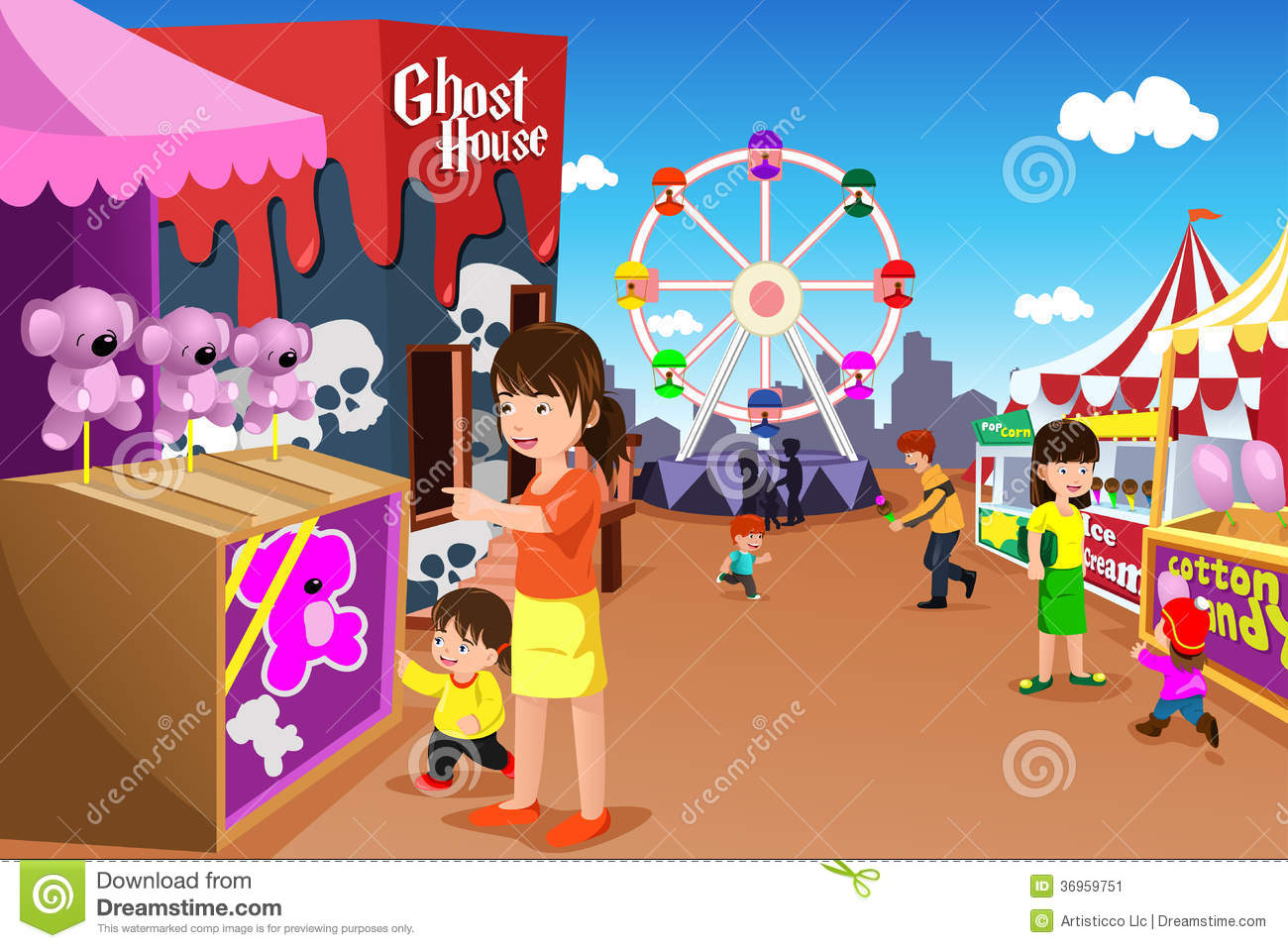 Family Playing In An Amusement Park Stock Image Image