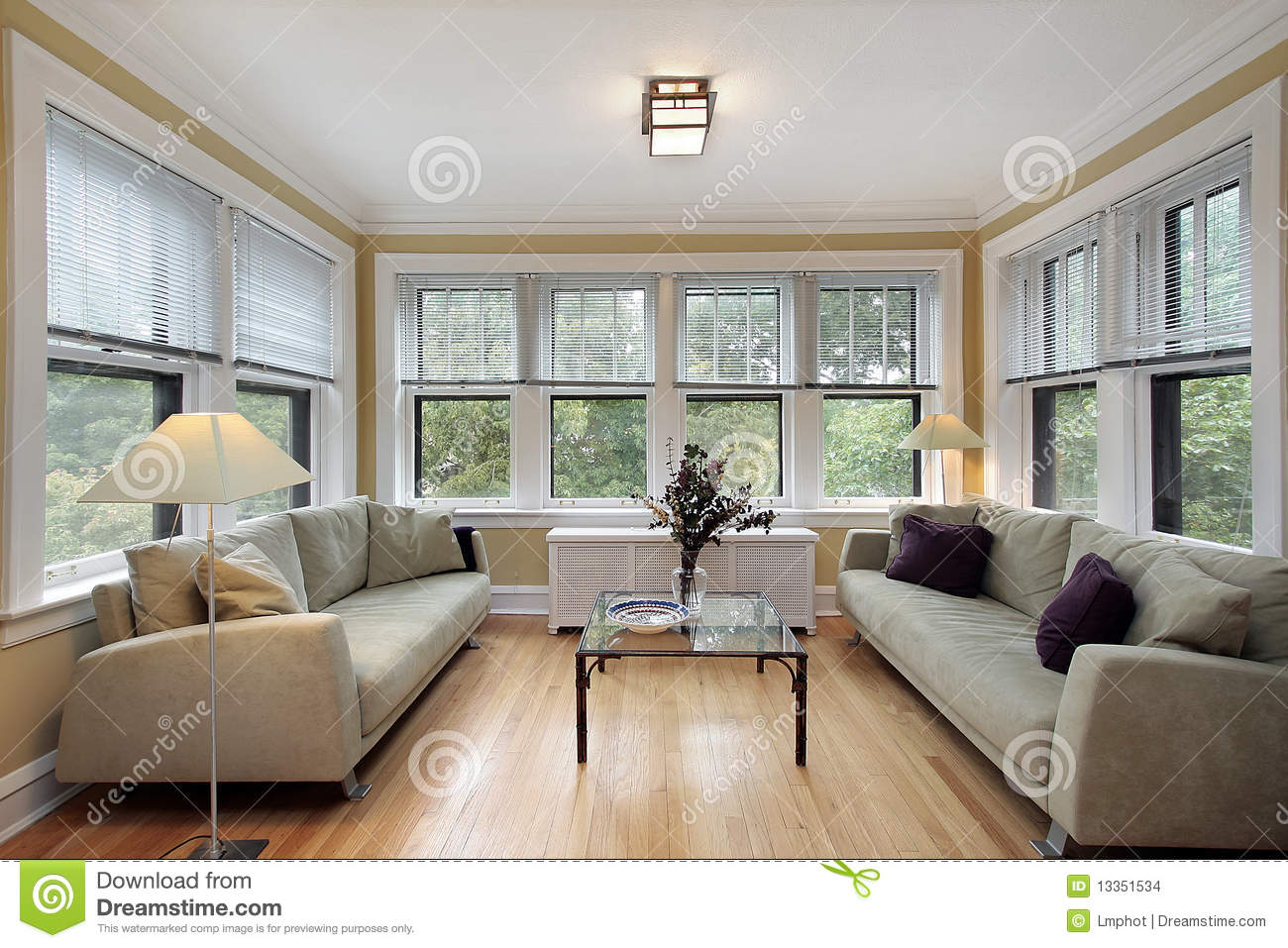 Family Room With Wall Of Windows Stock Images Image