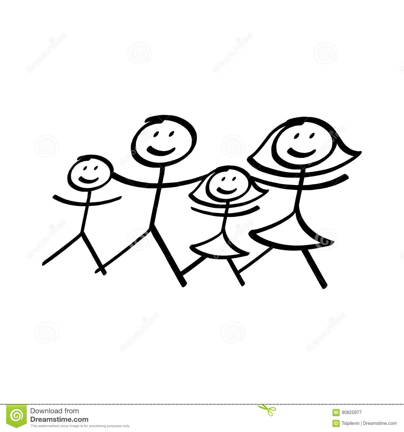 Family Of Stick Figures Illustration Stock Illustration