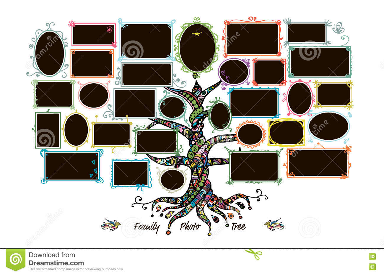 Family Tree Template With Picture Frames Stock Vector   Illustration     Download comp