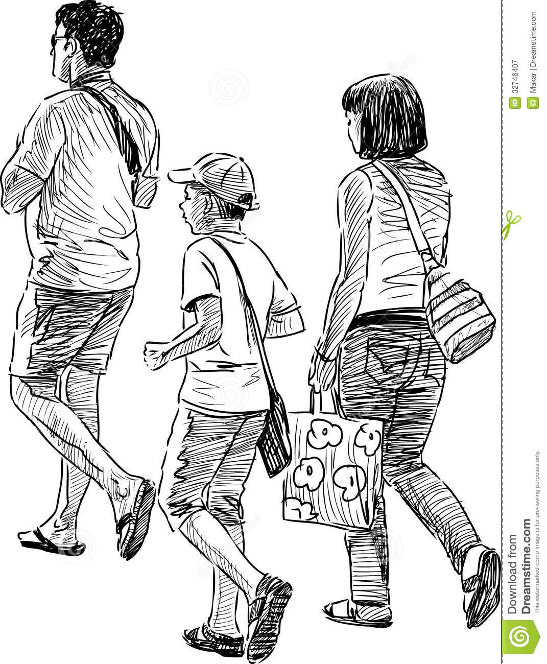 Family At Walk Stock Vector Illustration Of Parents