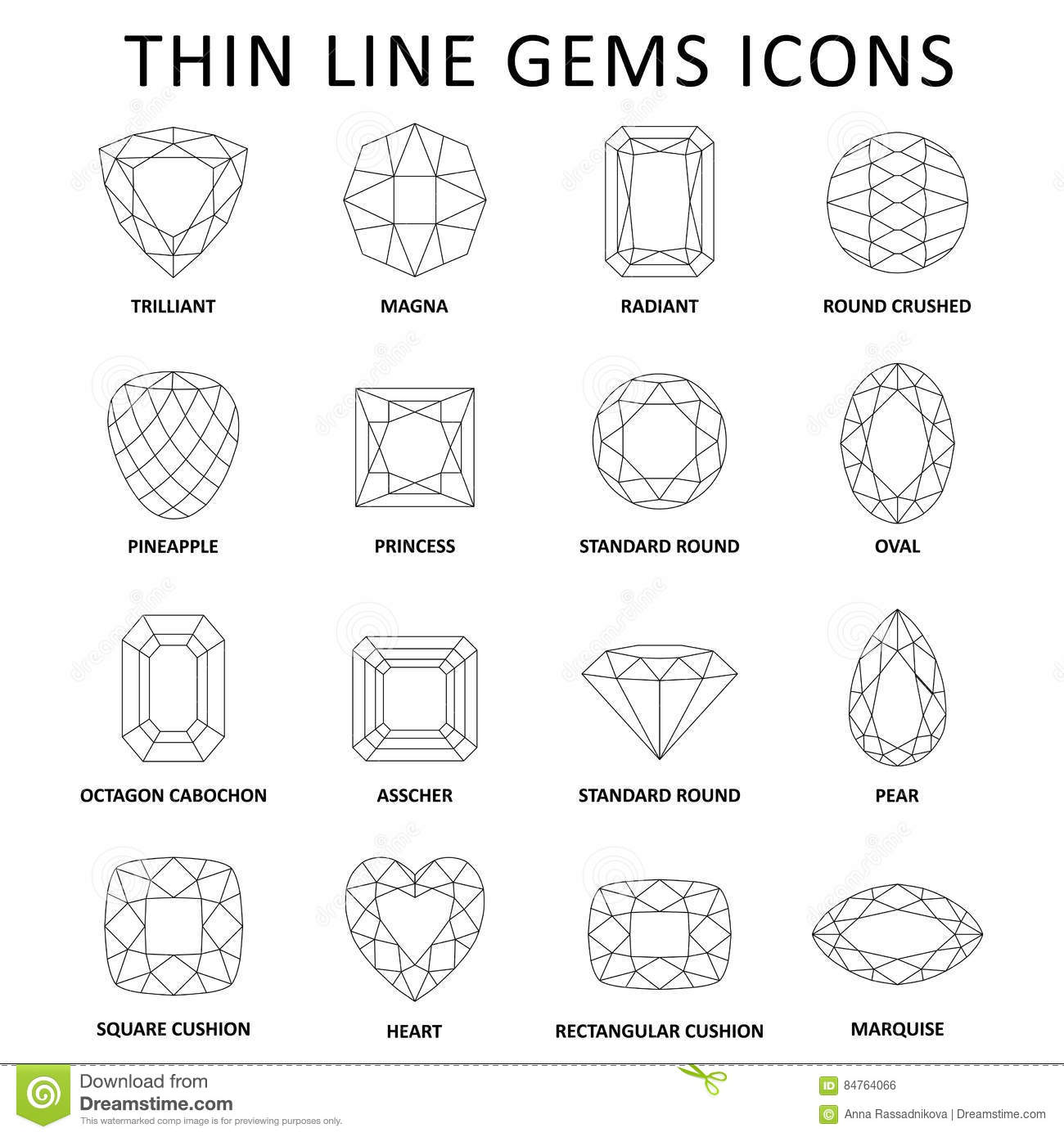 Fancy Gem Cut Set Stock Vector Illustration Of Icons