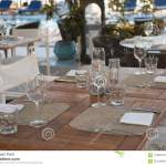 Fancy Outdoor Restaurant Table Setting Stock Photo Image Of Dish Evening 113604512