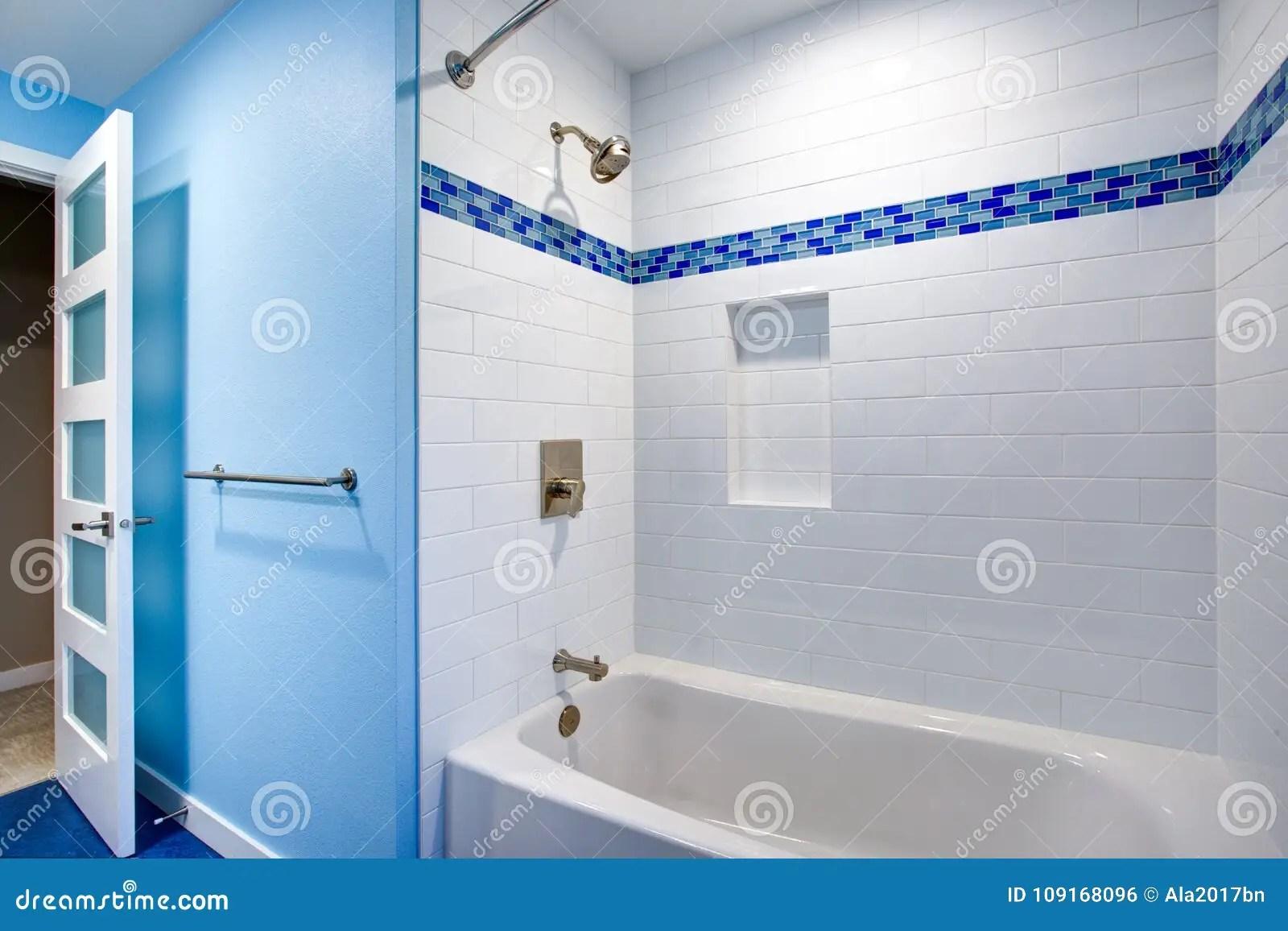 https www dreamstime com fantastic bathroom drop tub shower combo framed white subway tiled backsplash fitted niche flanked blue mosaic image109168096