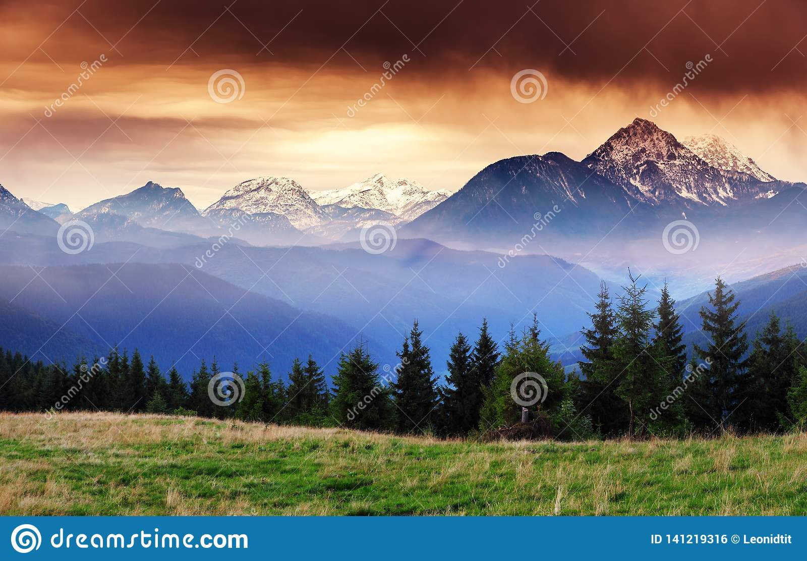 Fantastic Views Of The Mountain Range With Snow Peaks