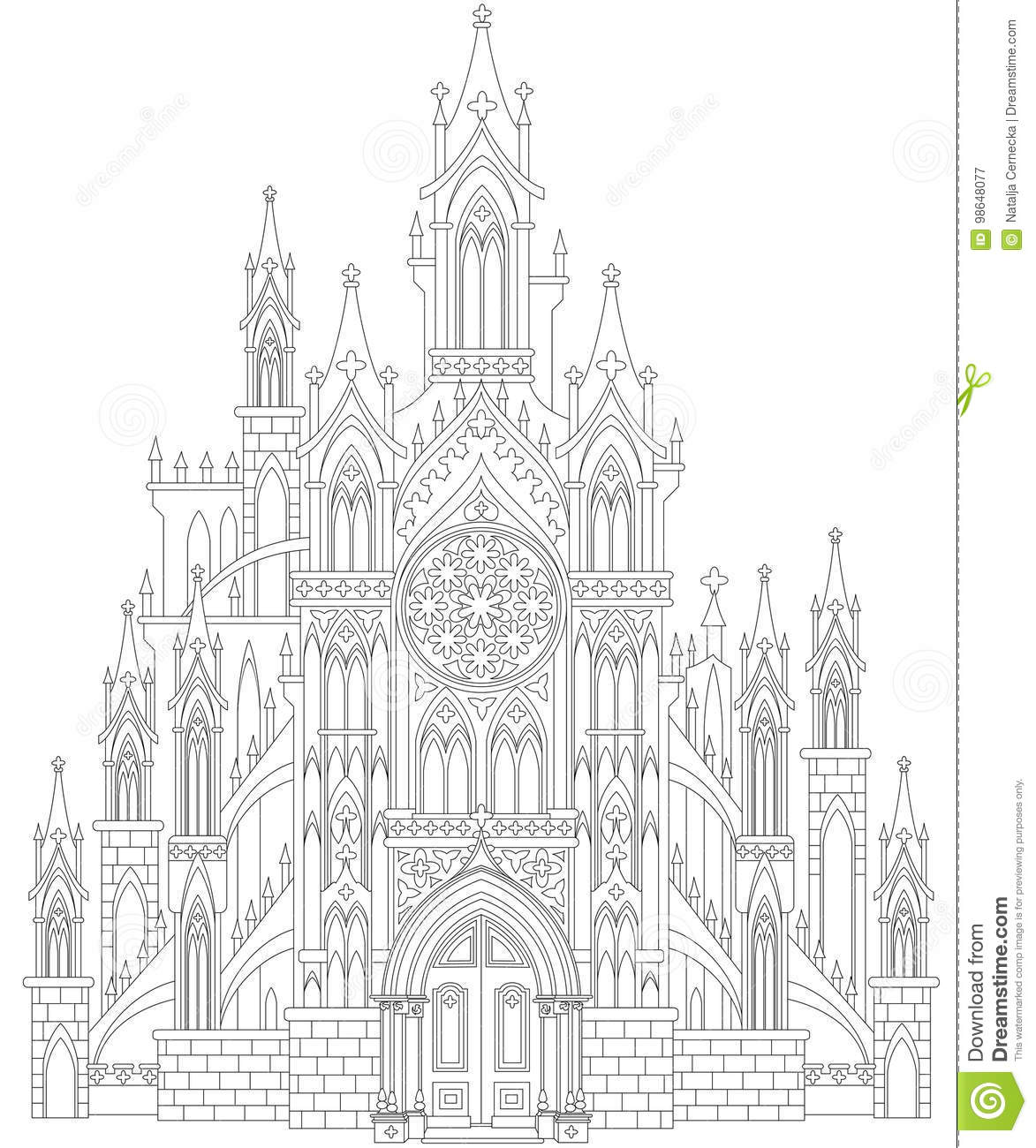 Fantasy Drawing Of Me Val Gothic Castle Black And White