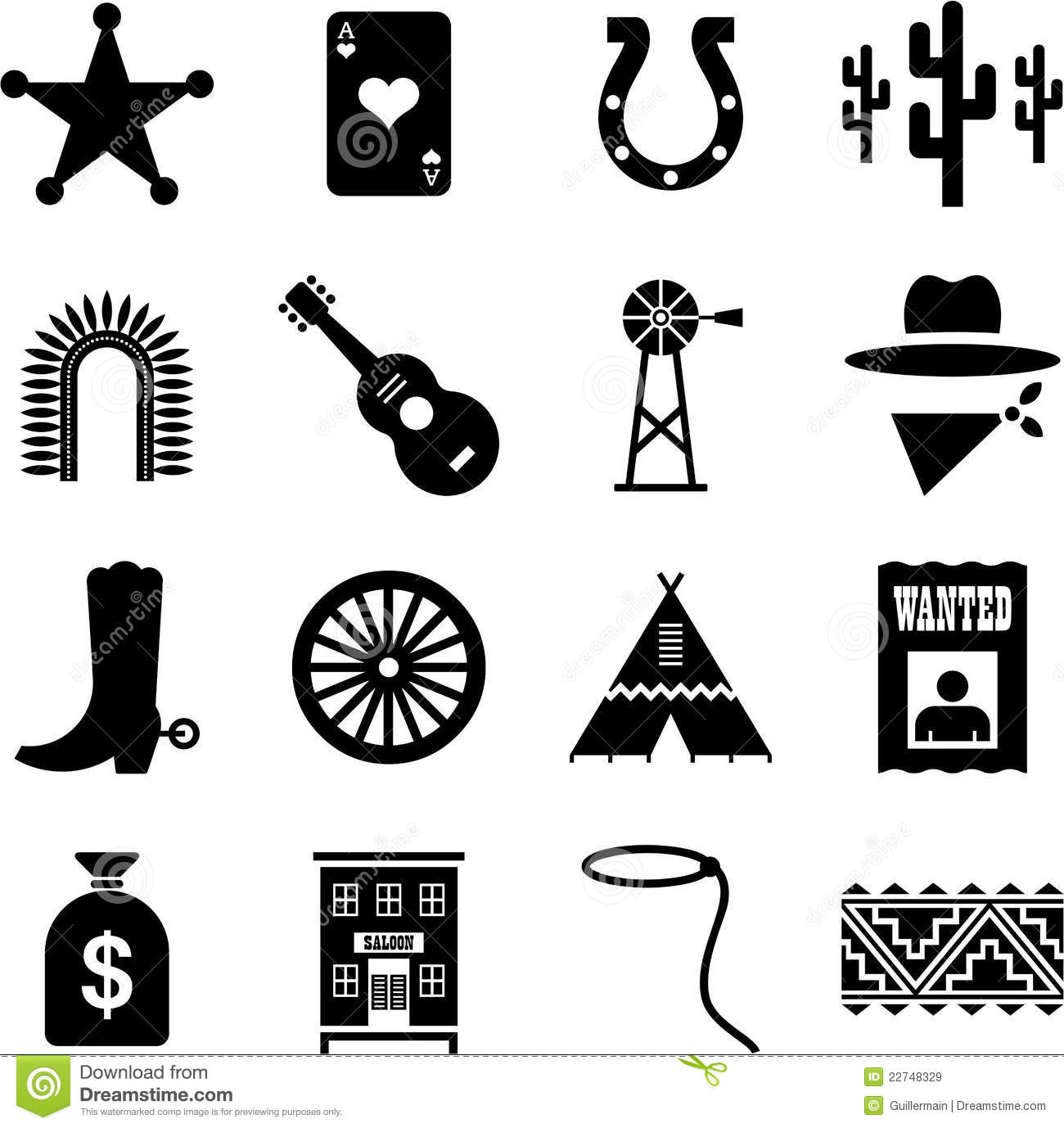 Far West Pictograms Royalty Free Stock Images