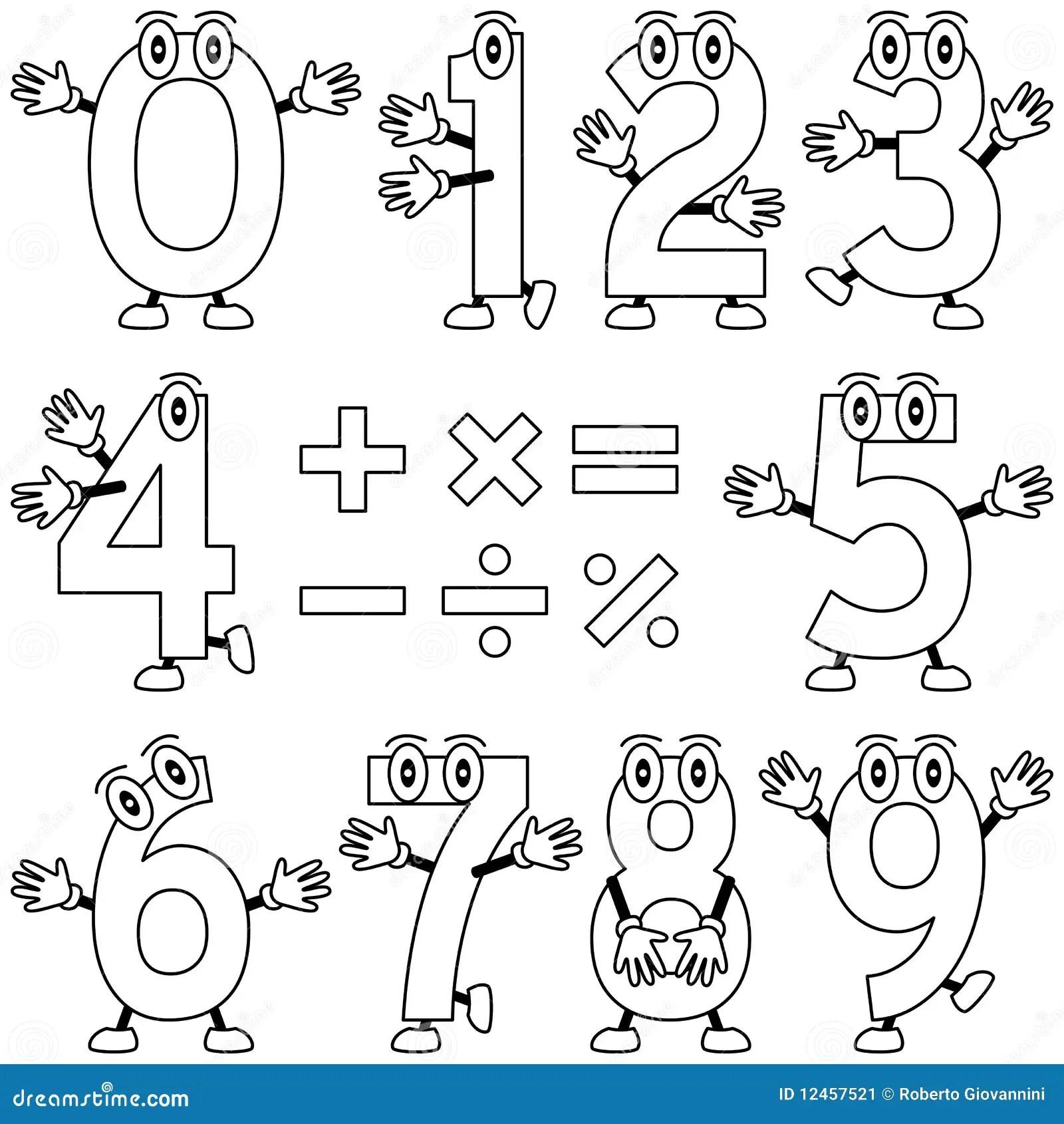 Farbton Karikatur Zahlen Vektor Abbildung Illustration