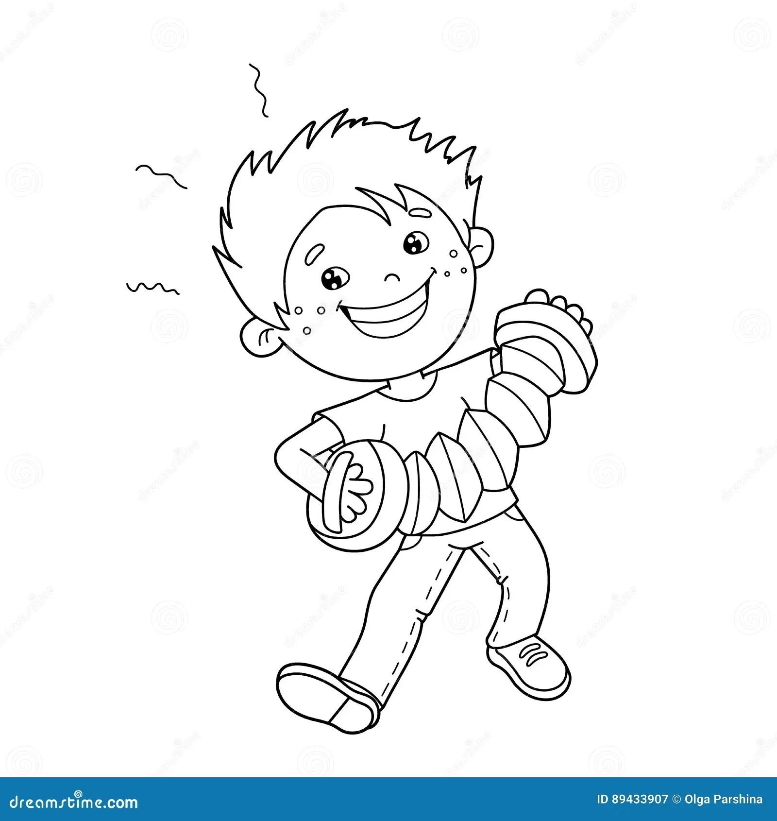 Farbton Seiten Entwurf Von Karikatur Jungen Das Akkordeon