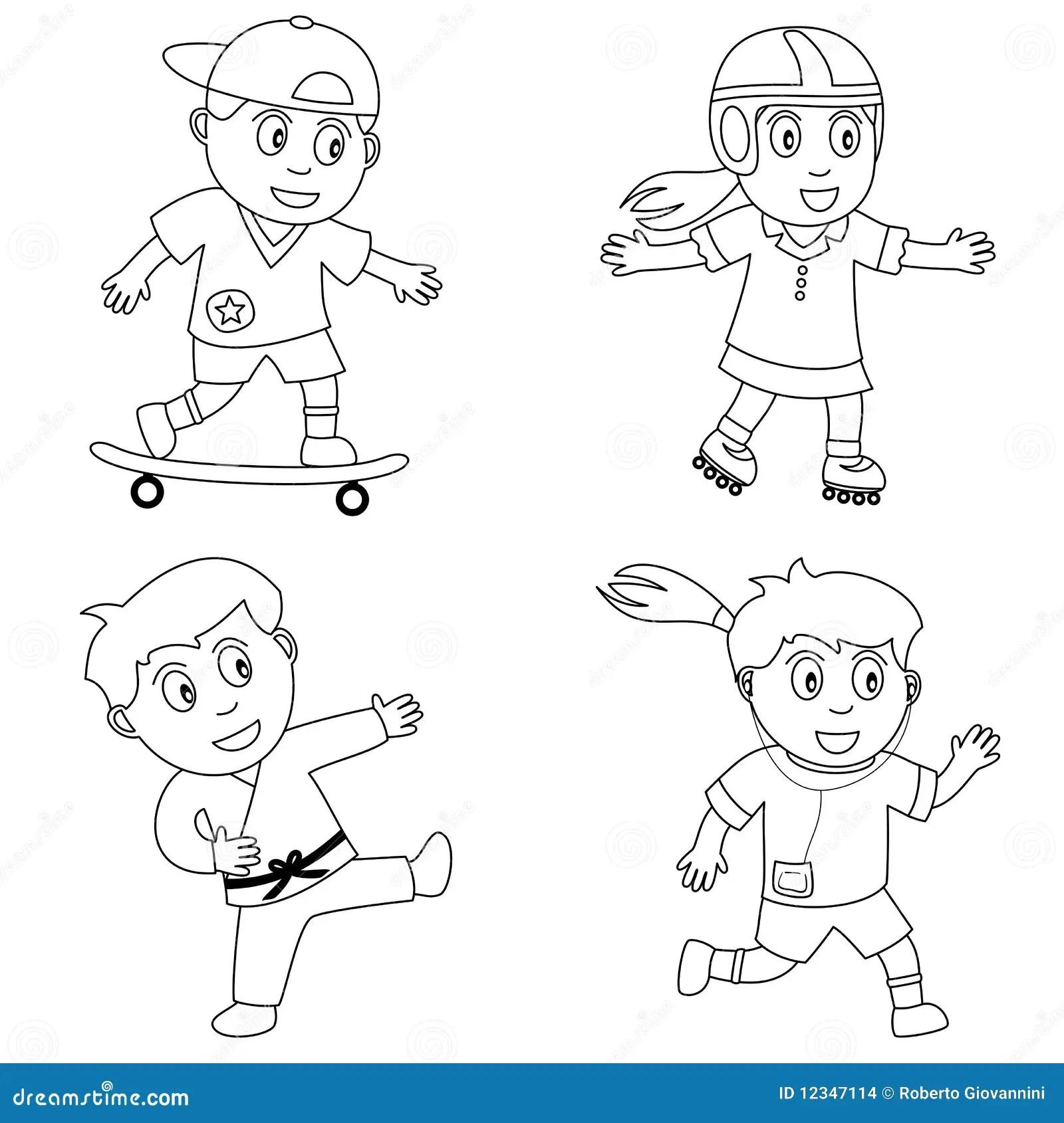 Farbton Sport Fur Kinder 4 Vektor Abbildung