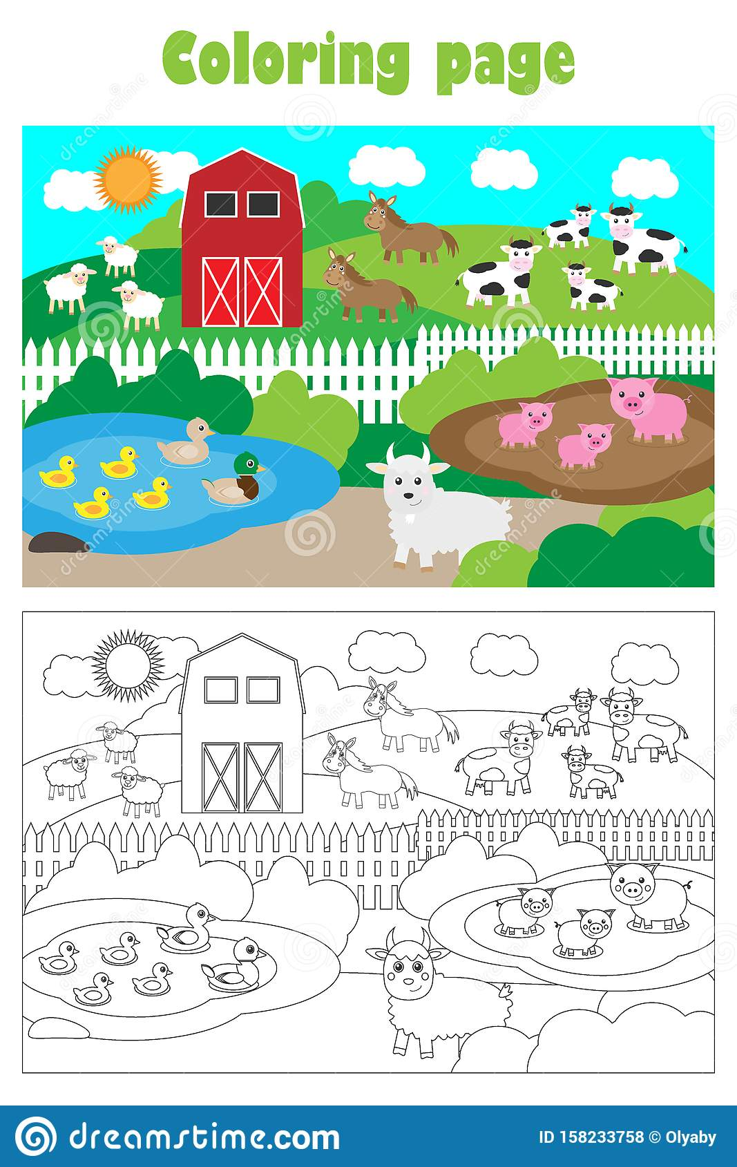 Farm With Animals Cartoon Style Coloring Page Education