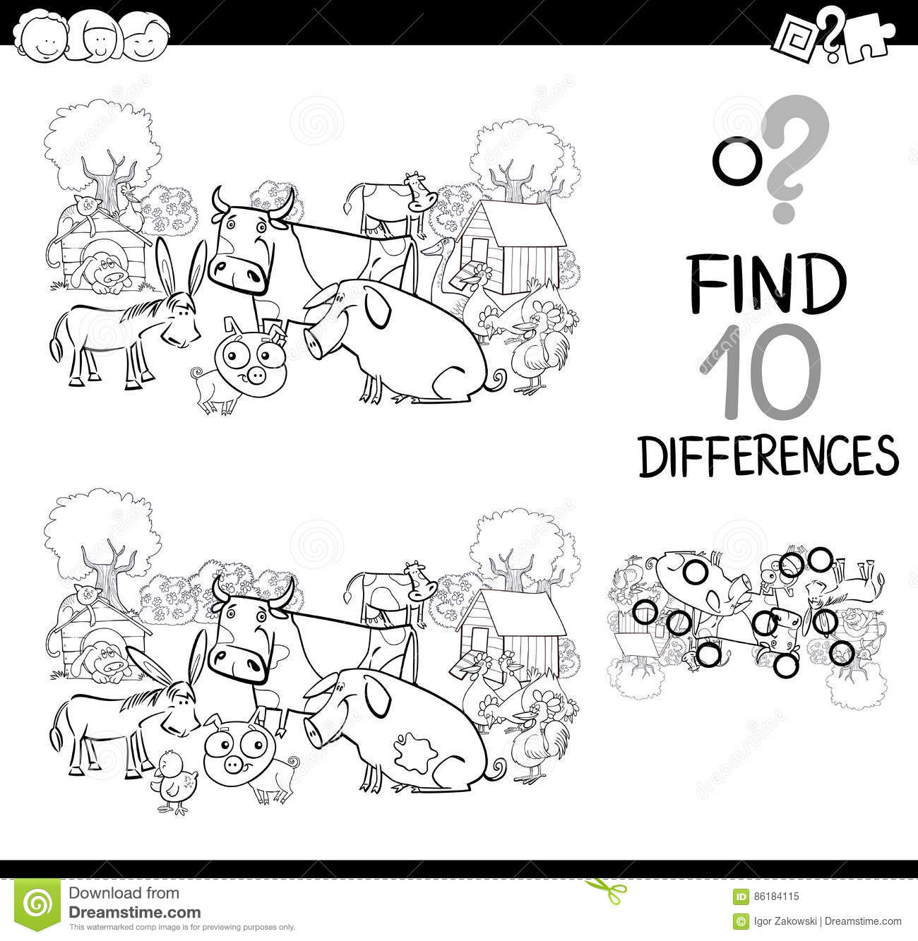 Farm Animals Game For Coloring Stock Vector