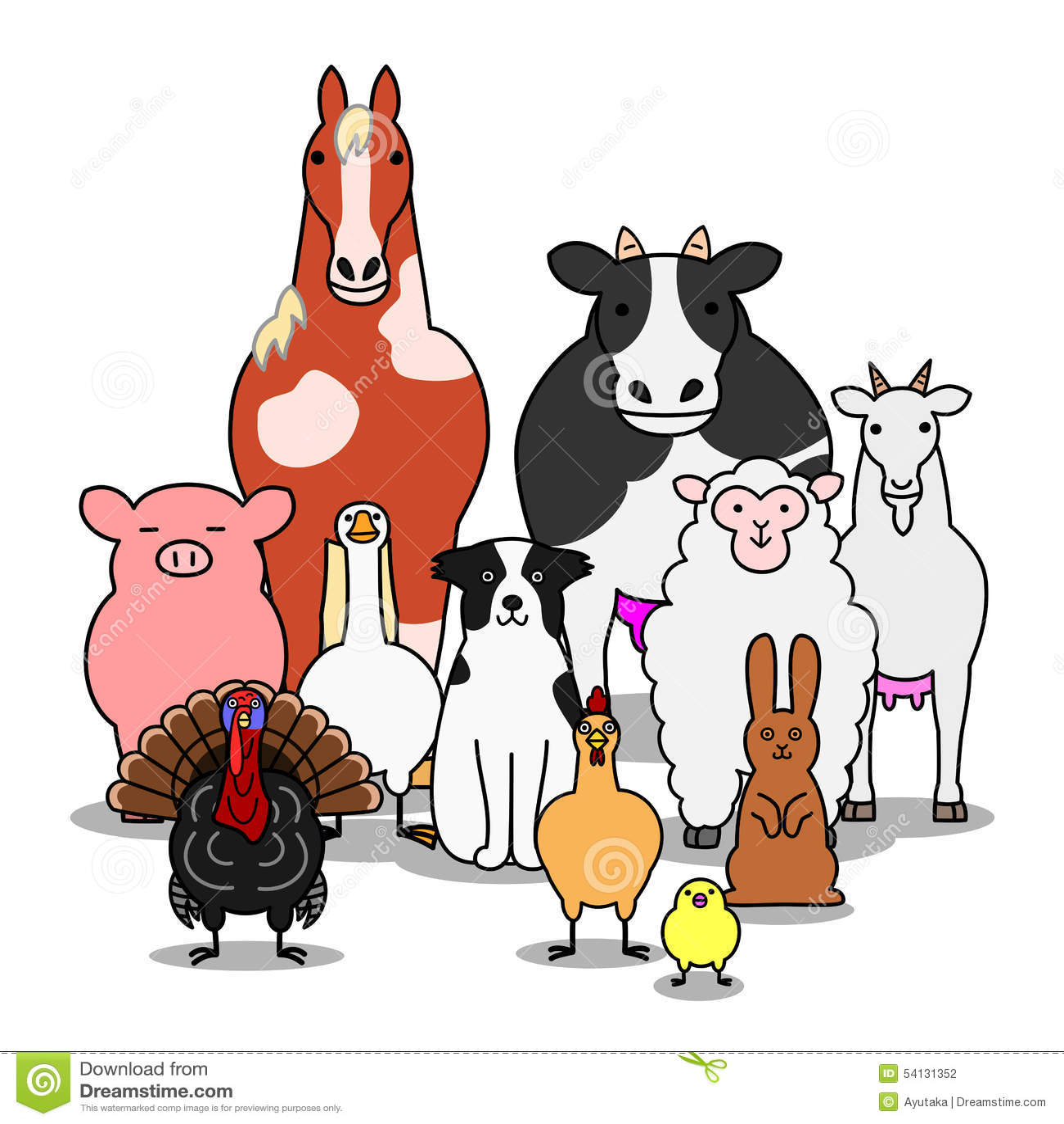 Farm Animals Group Stock Vector Illustration Of Farm