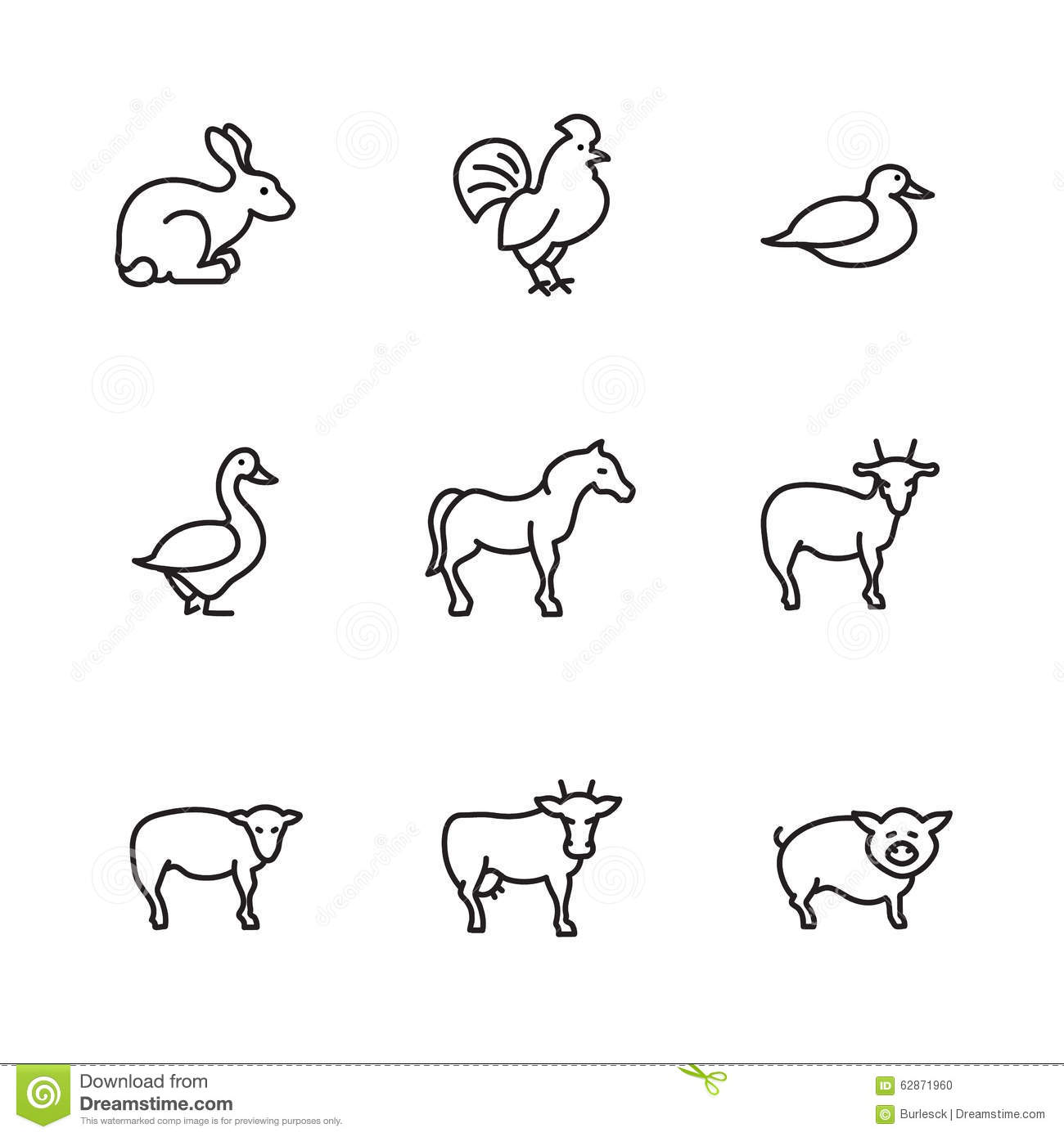 Farm Animals Line Vector Icons Set Stock Vector